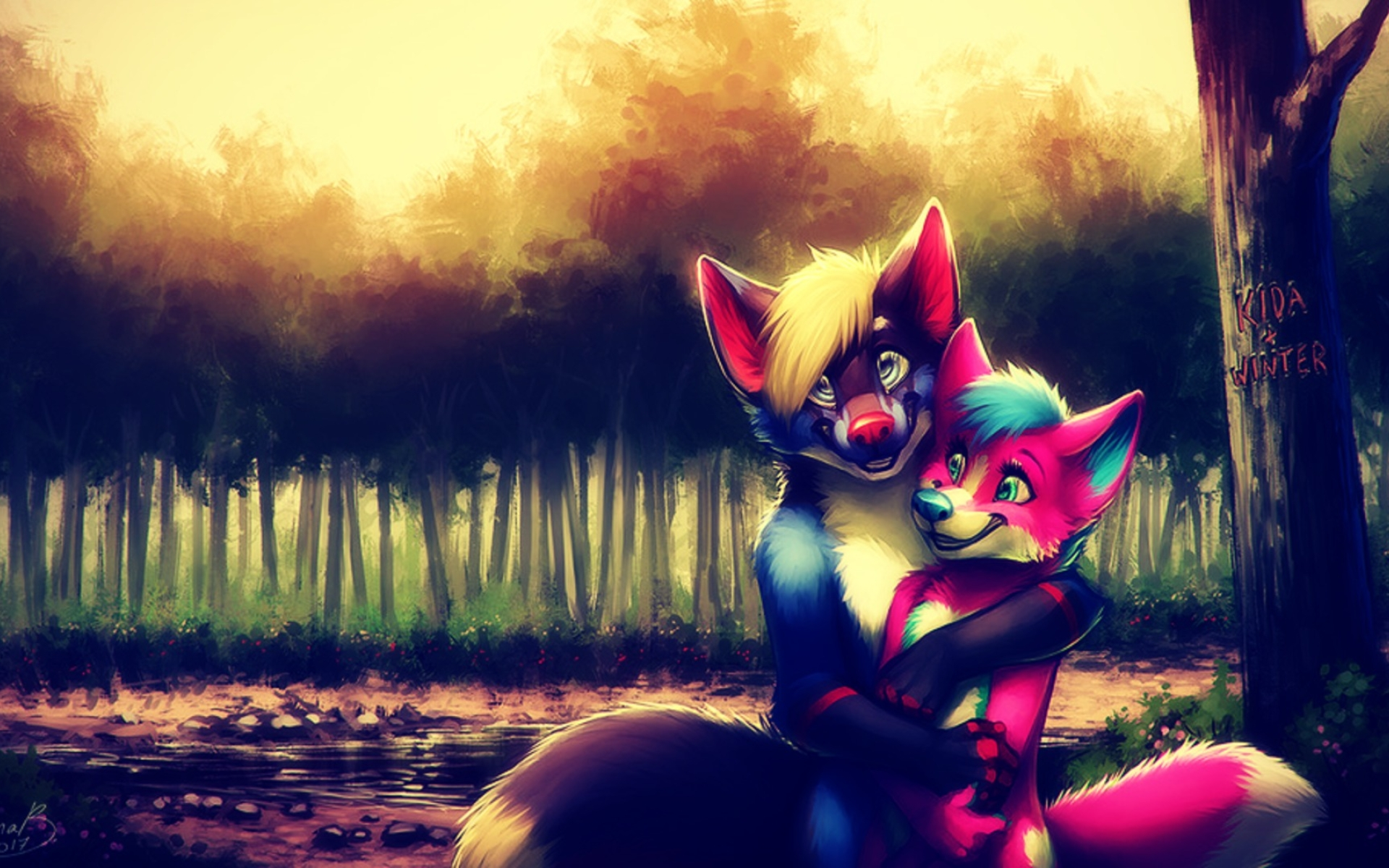 Furry Couple Anime Art Full Hd Wallpaper