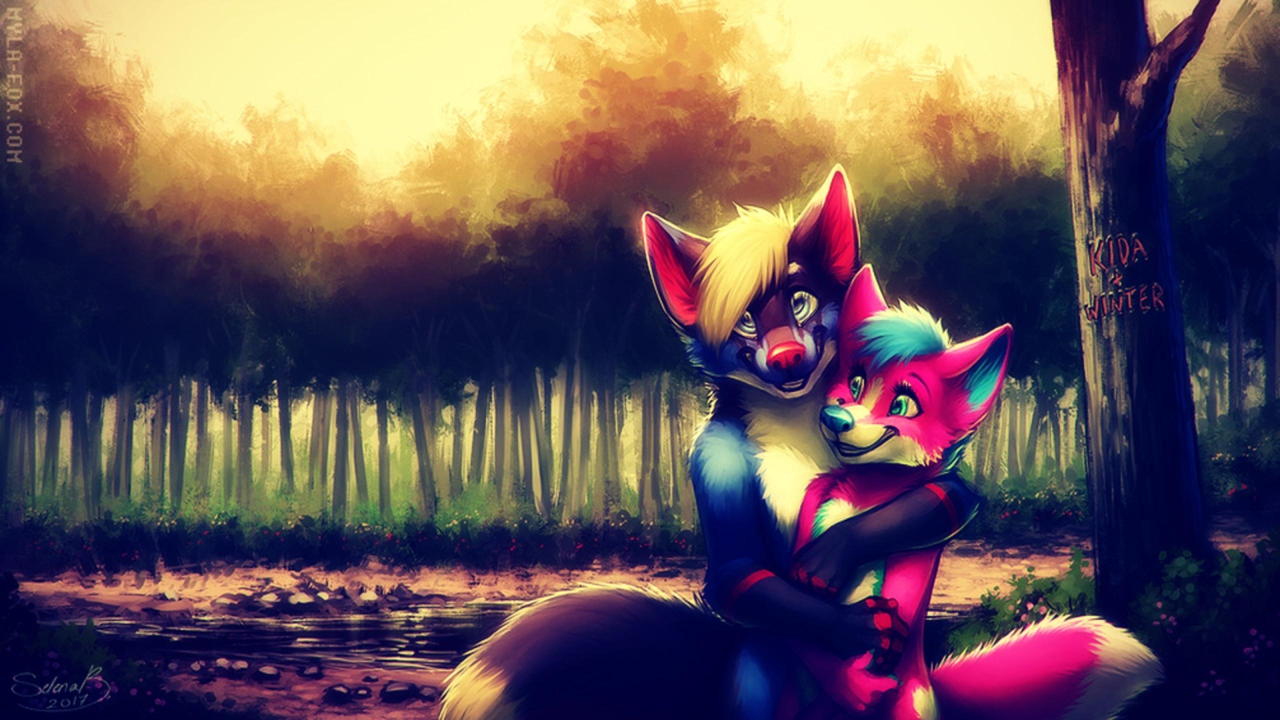 Furry Couple Anime Art, Full HD Wallpaper