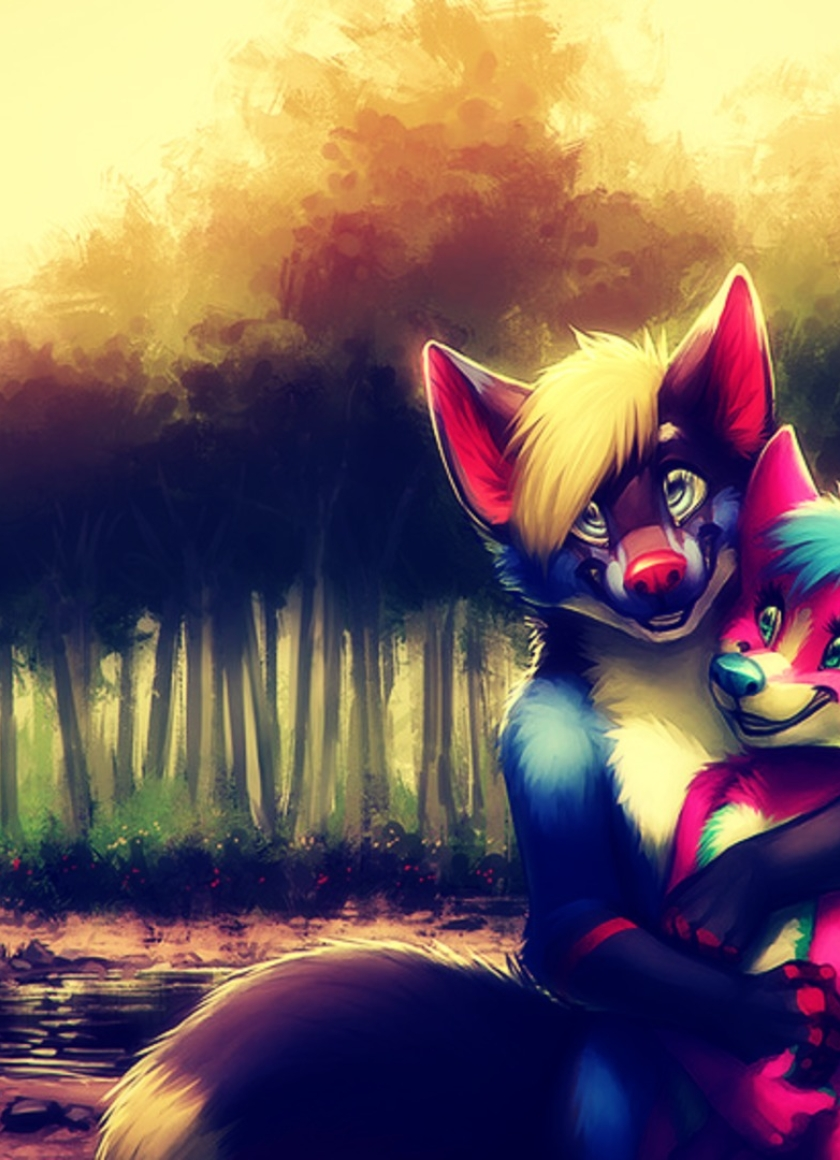 furry couple anime art, full hd wallpaper