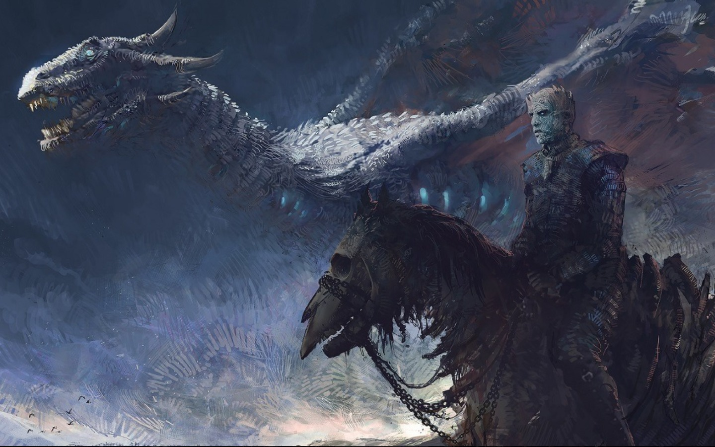 Game Of Thrones 7 White Walker And Ice Dragon Art, Full HD