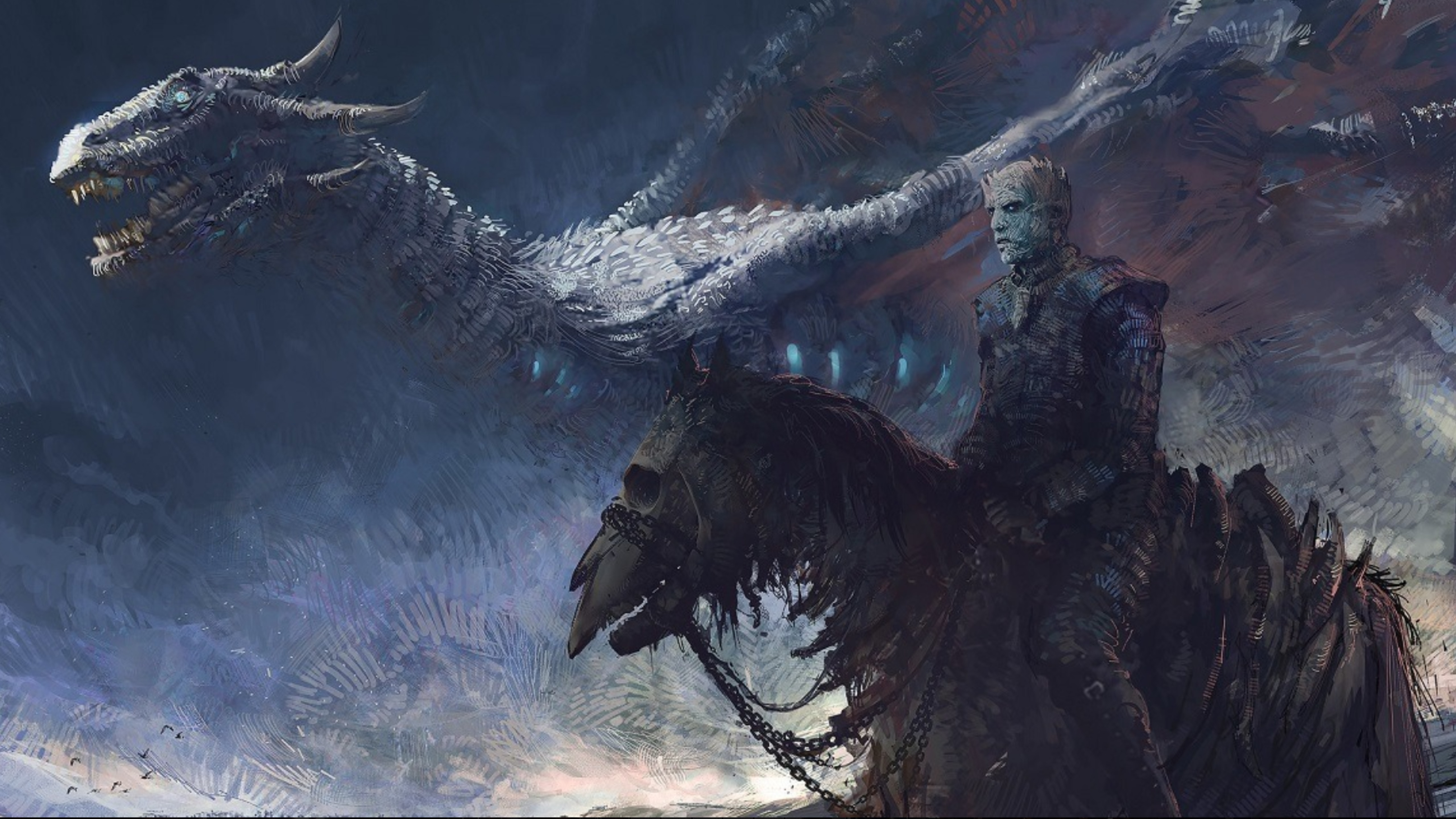 5120x2880 Game Of Thrones 7 White Walker And Ice Dragon Art