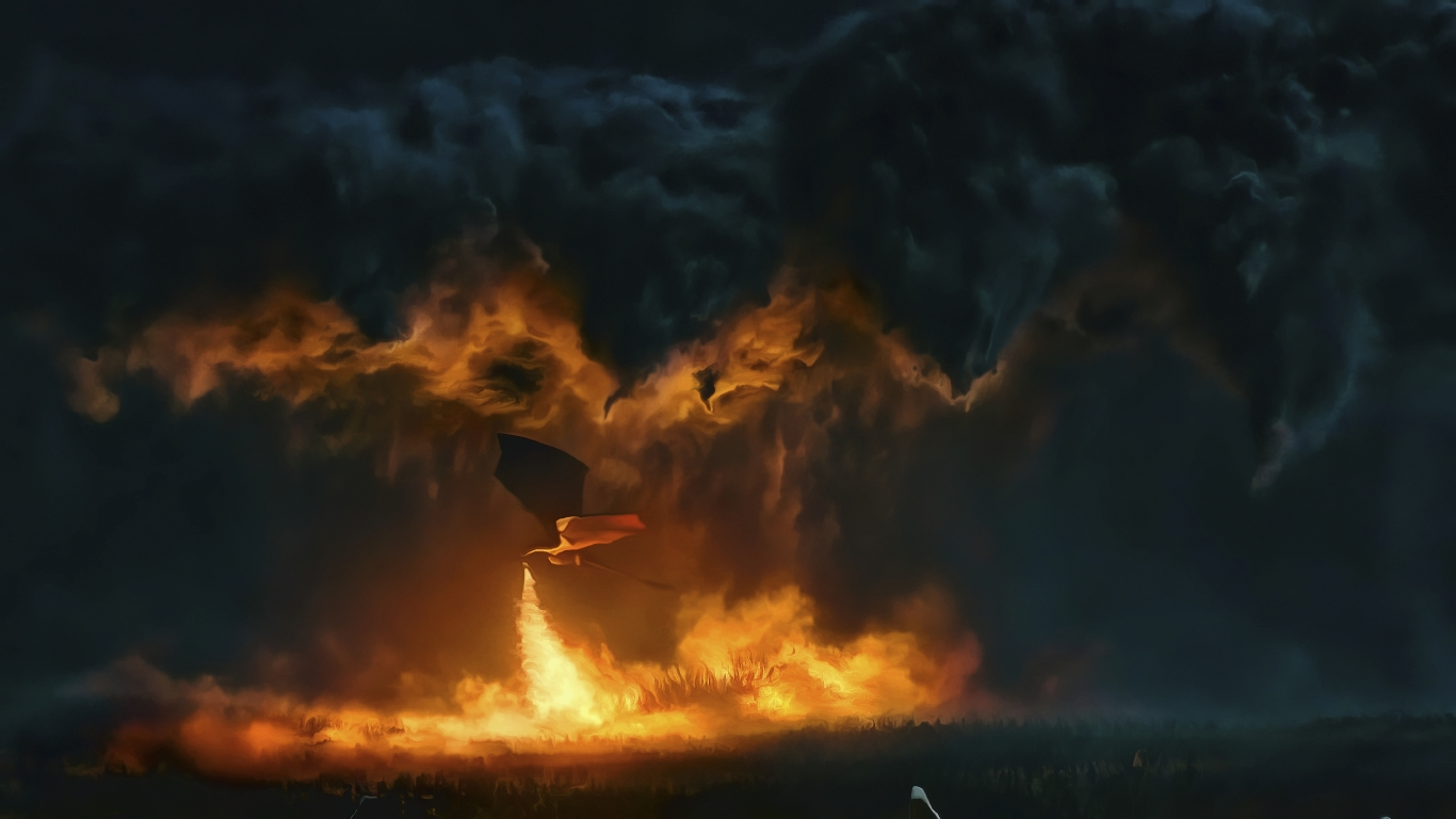 1366x768 Game Of Thrones Dragon Fire 1366x768 Resolution