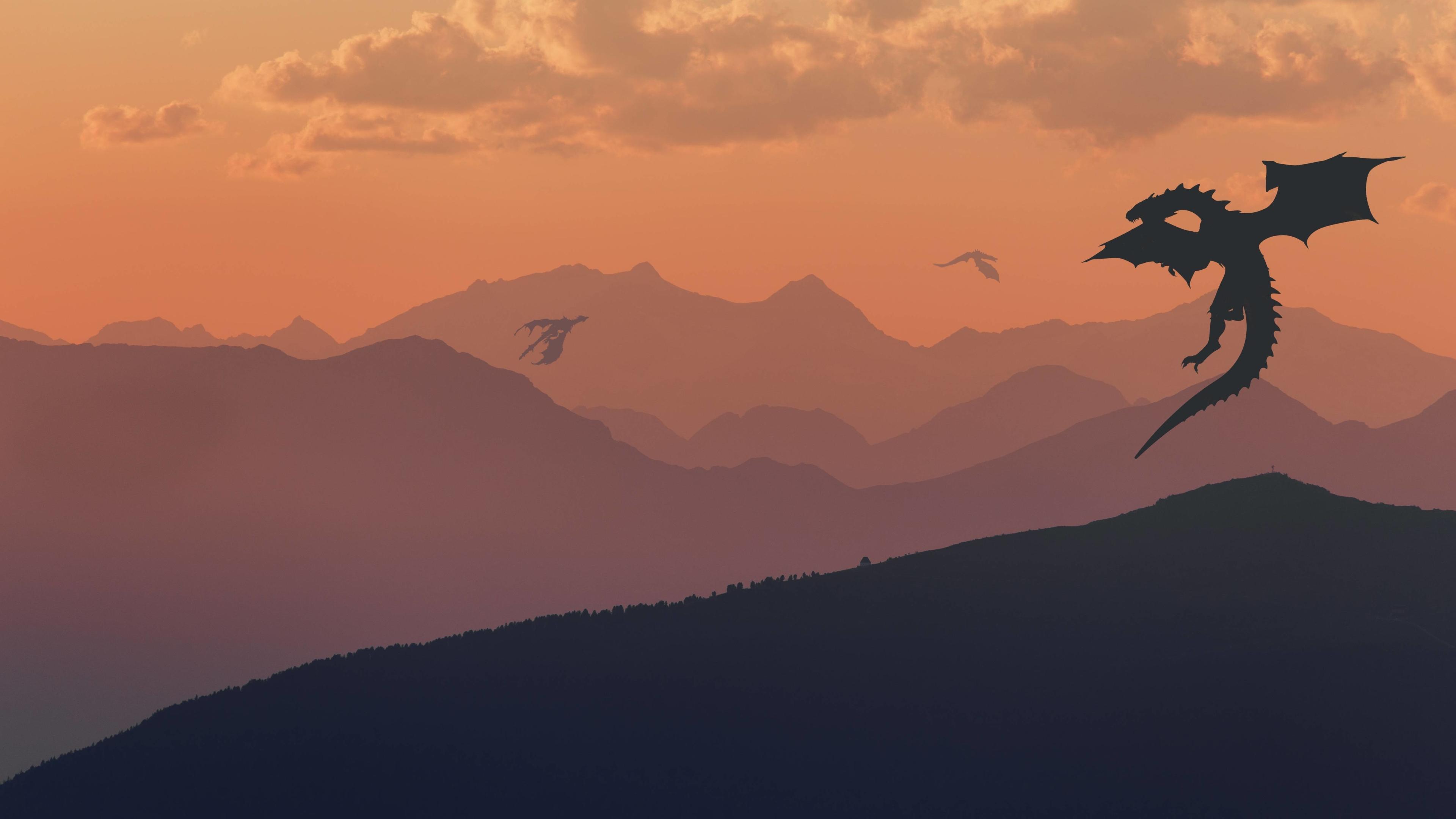 4k Game Of Thrones Wallpaper: Game Of Thrones Dragon Minimalist, HD 4K Wallpaper