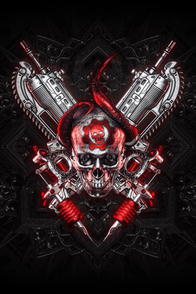 640x960 Gears Of War Logo 4K iPhone 4, iPhone 4S Wallpaper ...