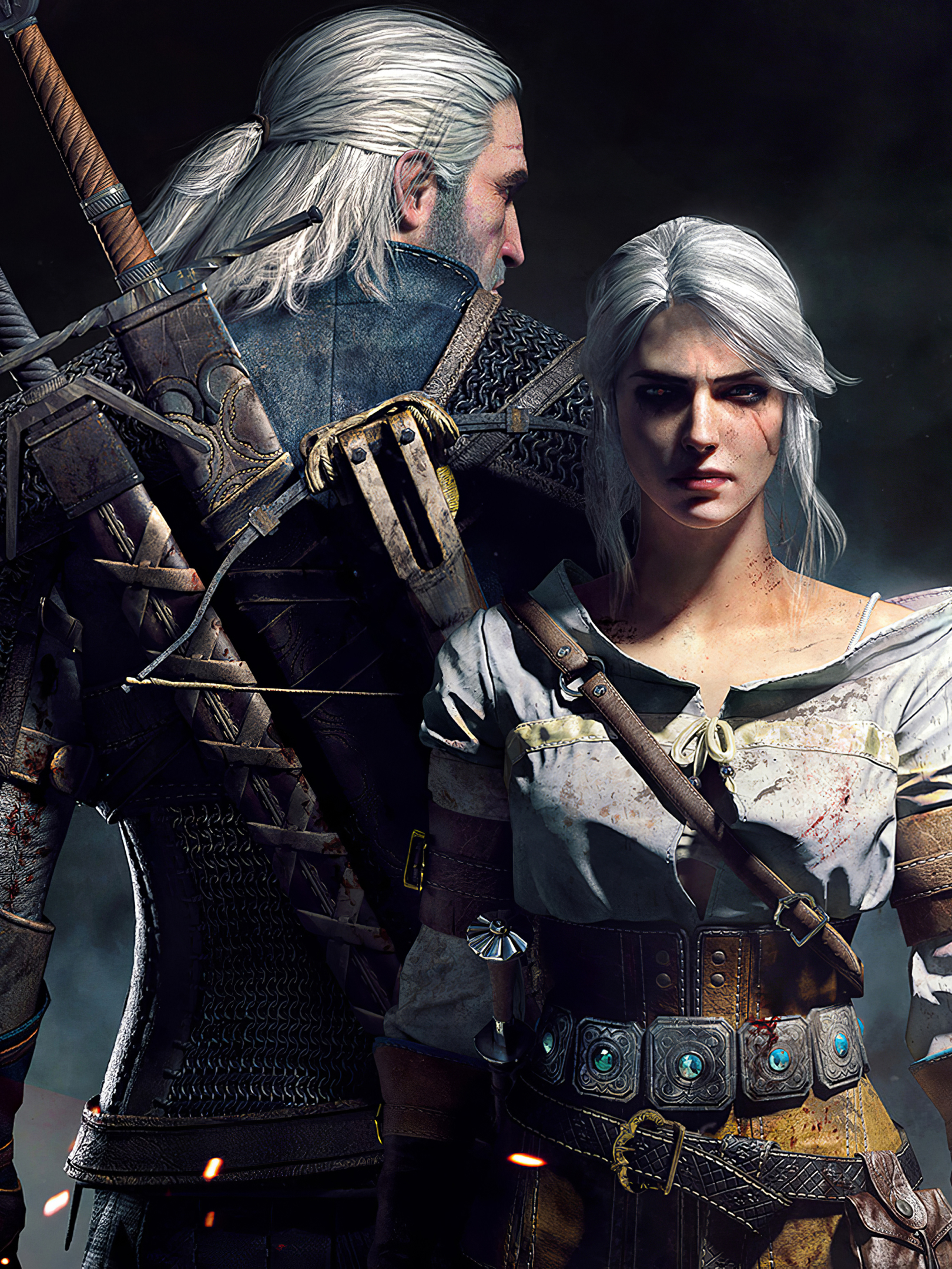 1620x2160 Geralt And Ciri The Witcher 3 Game Poster 1620x2160