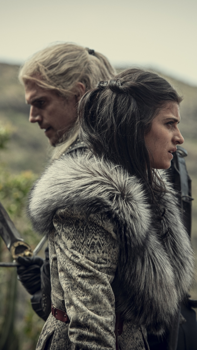 Geralt and Yennefer in The Witcher 4K Wallpaper in 640x1136 Resolution