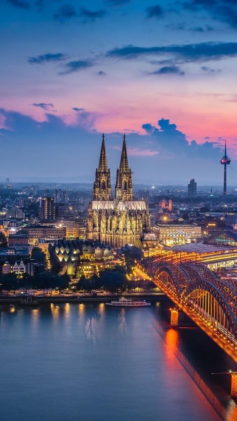 Download Germany Cologne Bridge Building City 1280x2120 ...
