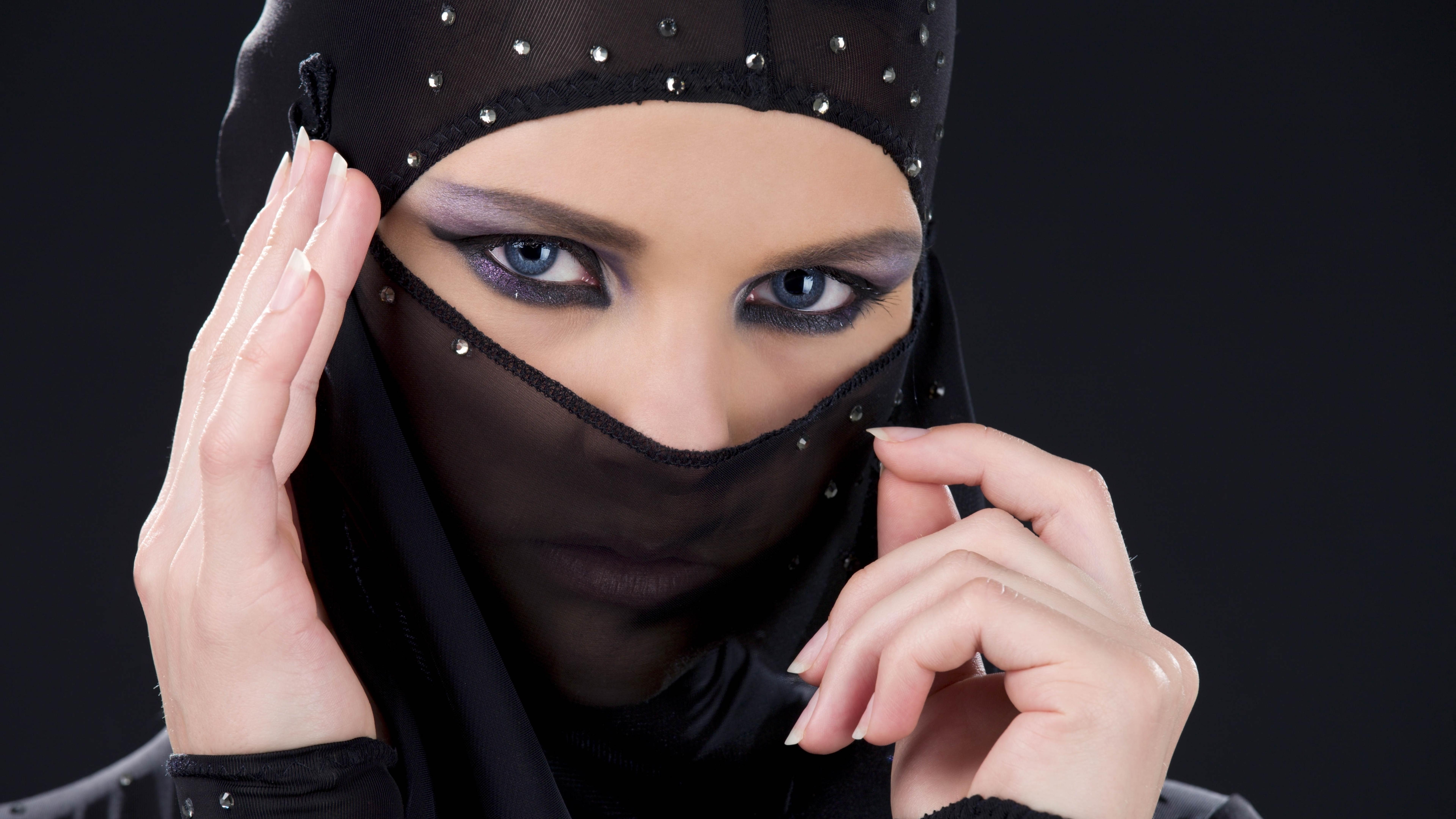 Girl Face Veil Black Background Hd 4k Wallpaper