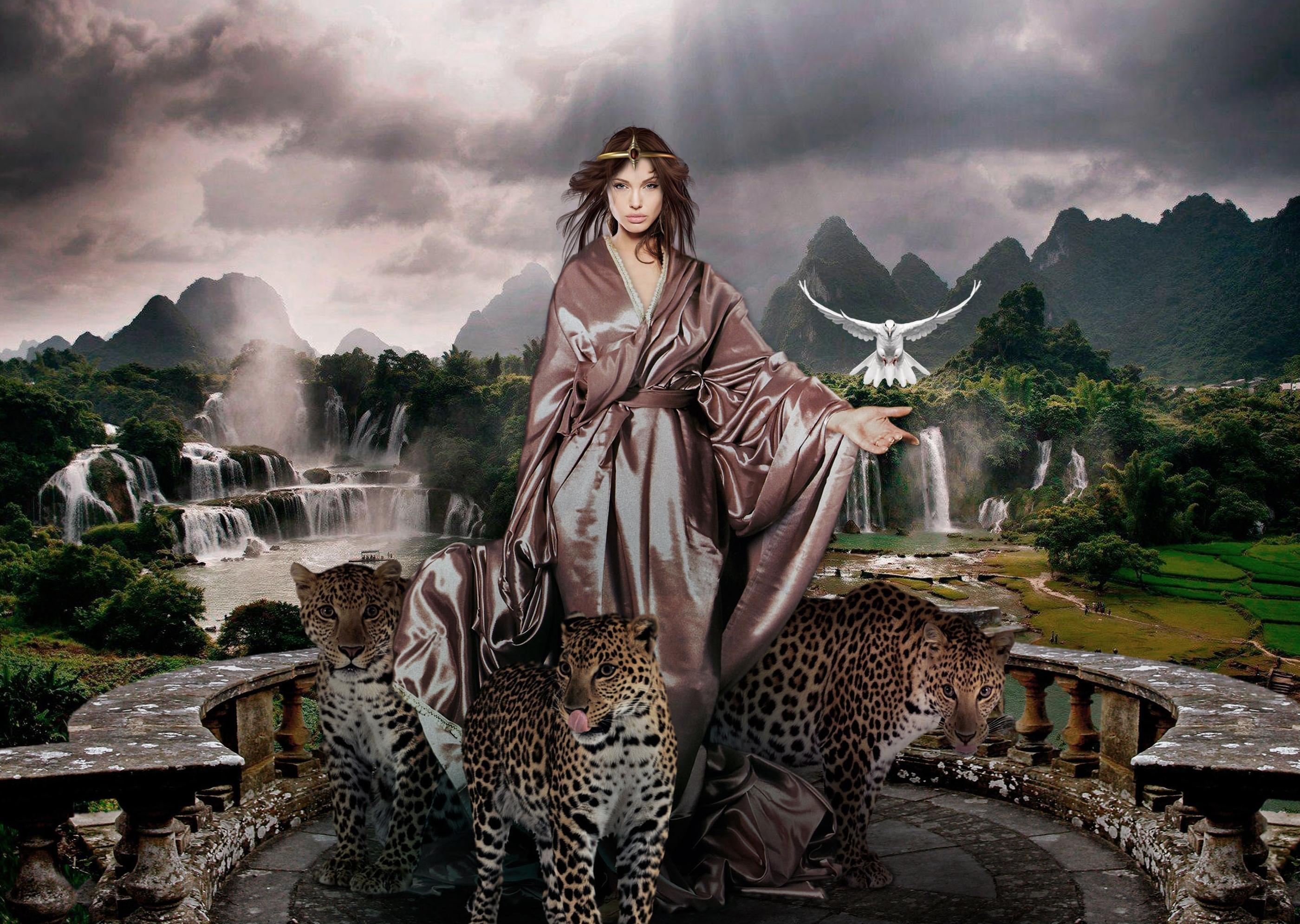 девушка с леопардом скачать