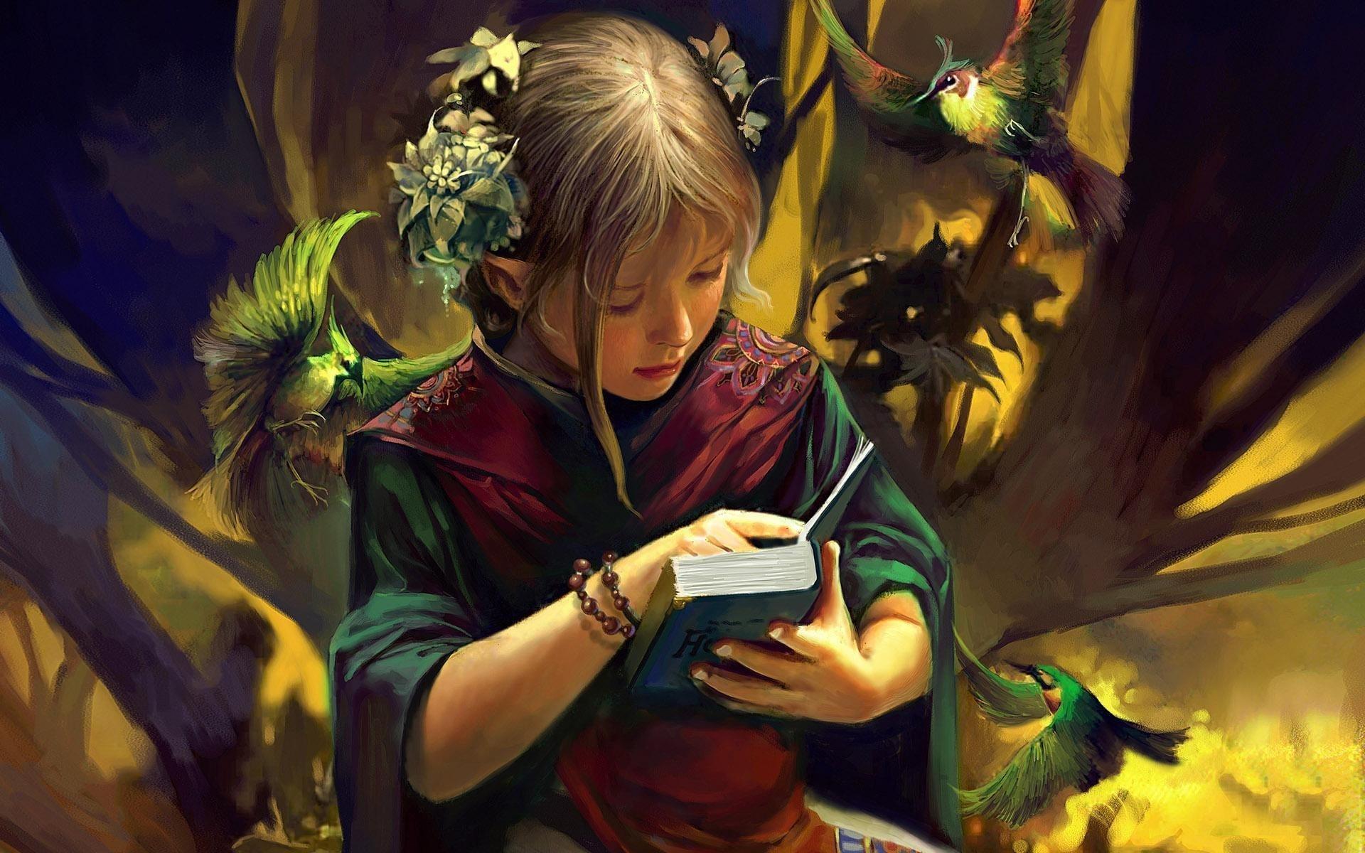 1920x1200 Girl Reading Book Fantasy Art 1200p Wallpaper Hd