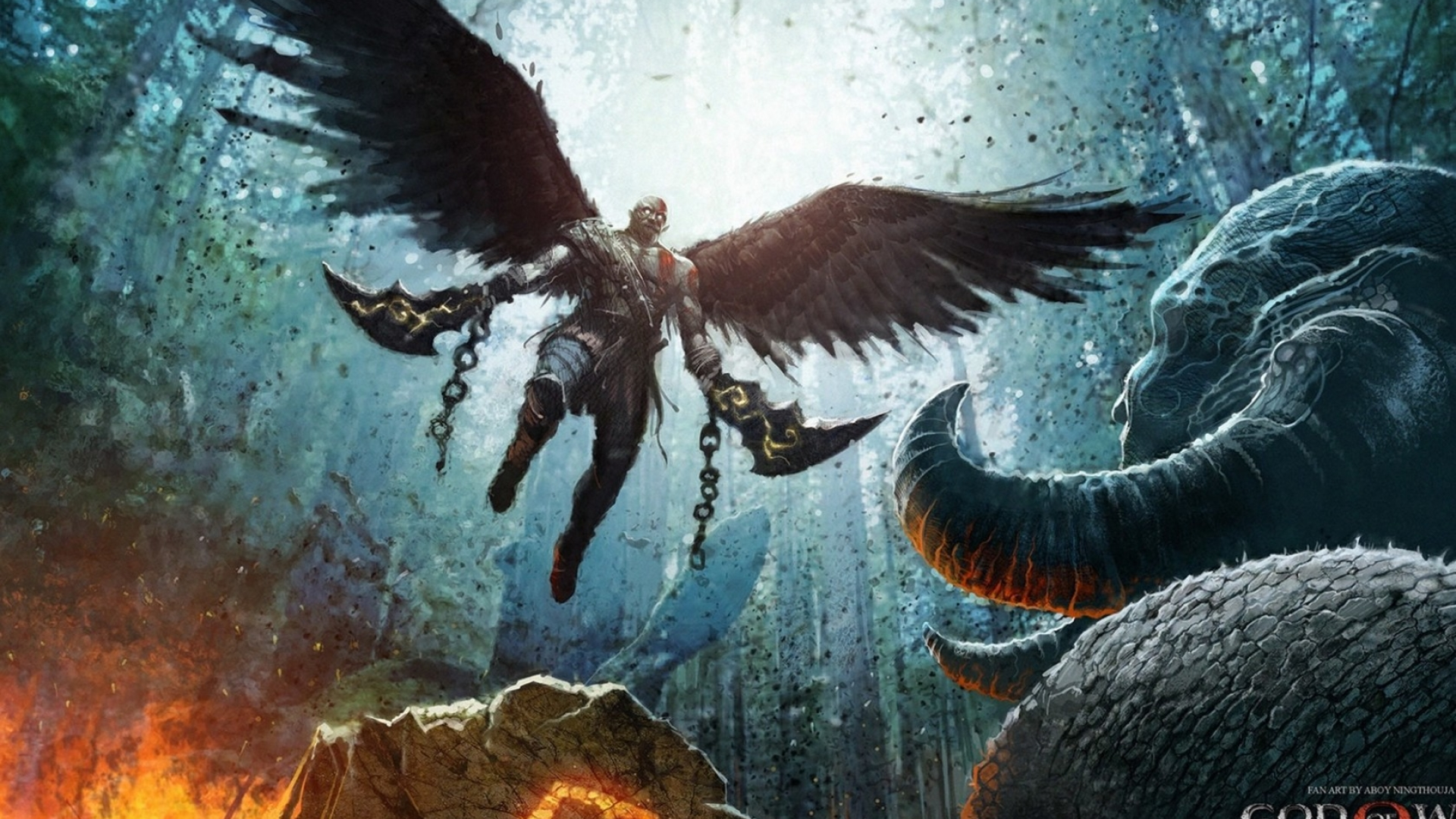 1920x1080 God Of War 4 Wings Warrior 1080p Laptop Full Hd