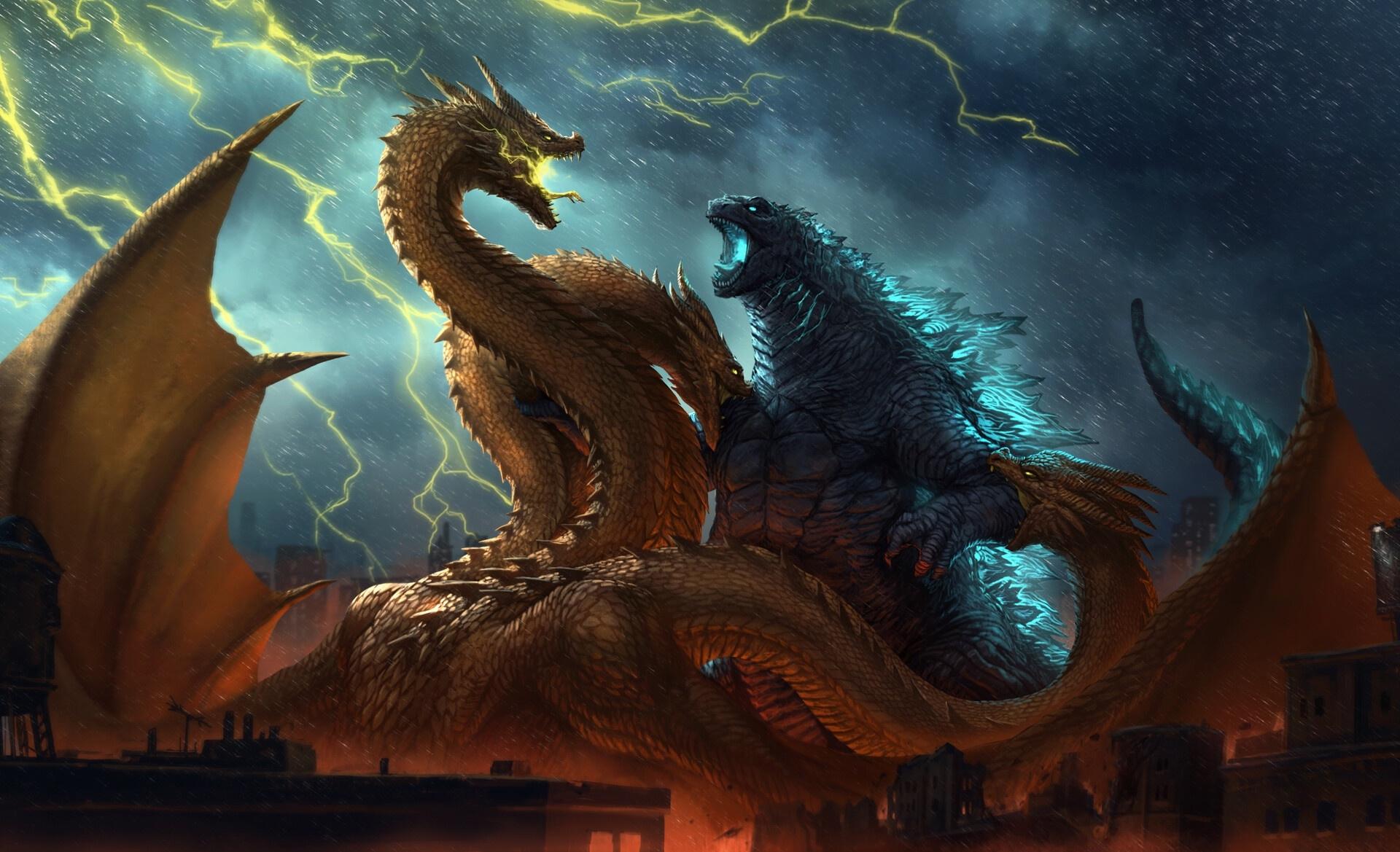 Godzilla Vs King Ghidorah King Of The Monsters Wallpaper Hd