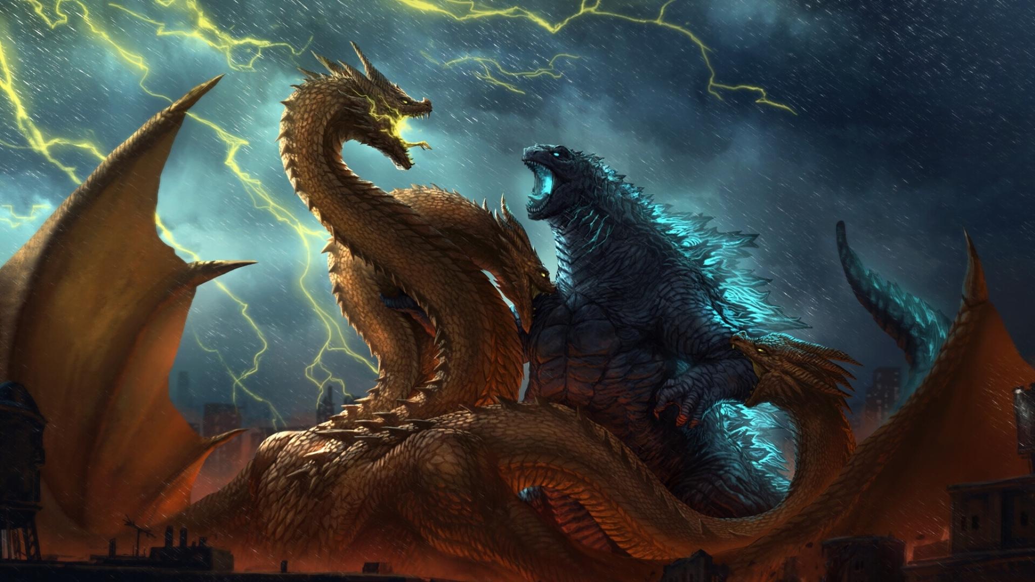 2048x1152 Godzilla vs King Ghidorah King of the Monsters ...