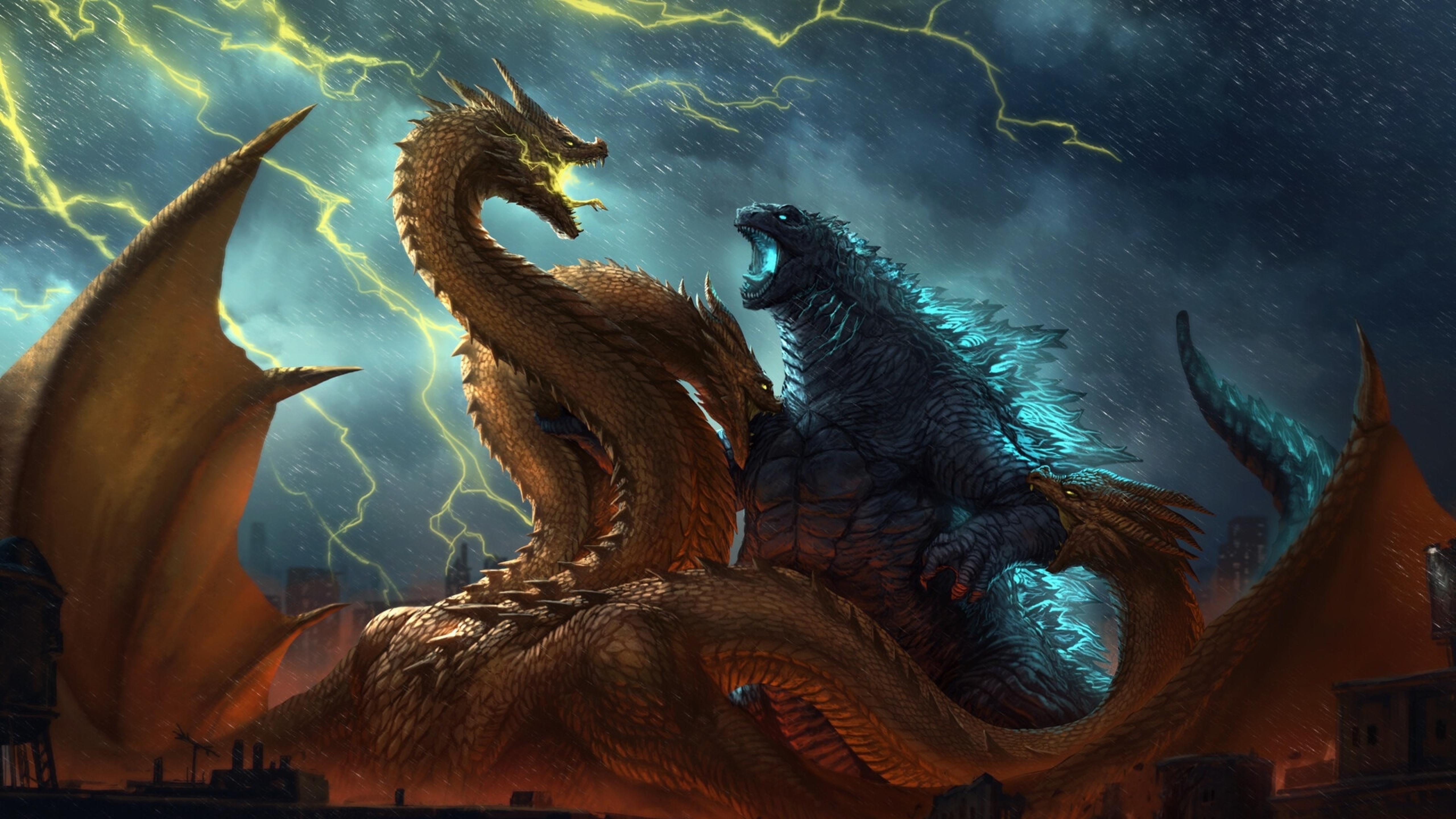 5120x2880 Godzilla Vs King Ghidorah King Of The Monsters 5k