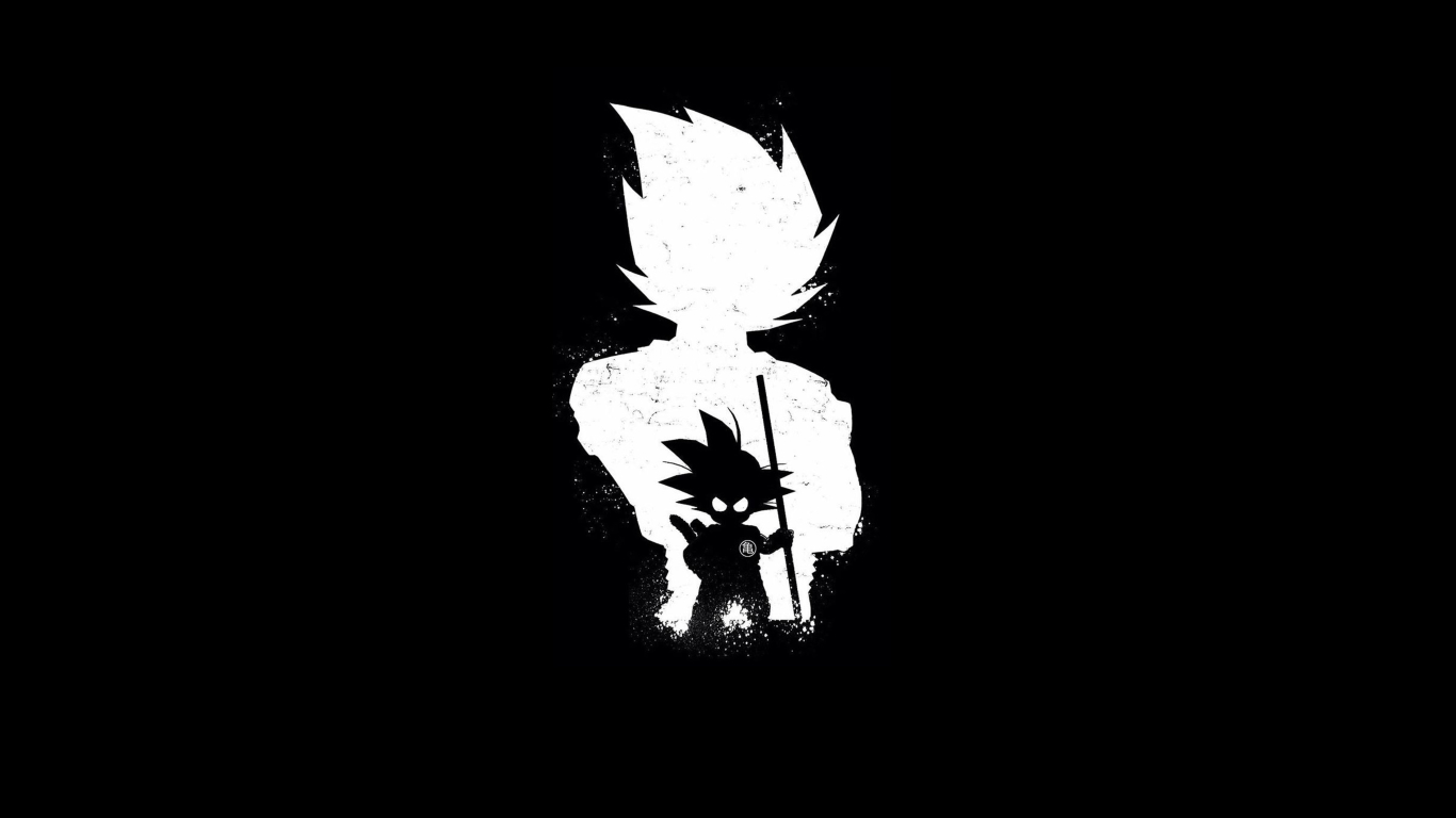 1366x768 Goku Anime Dark Black 1366x768 Resolution Wallpaper