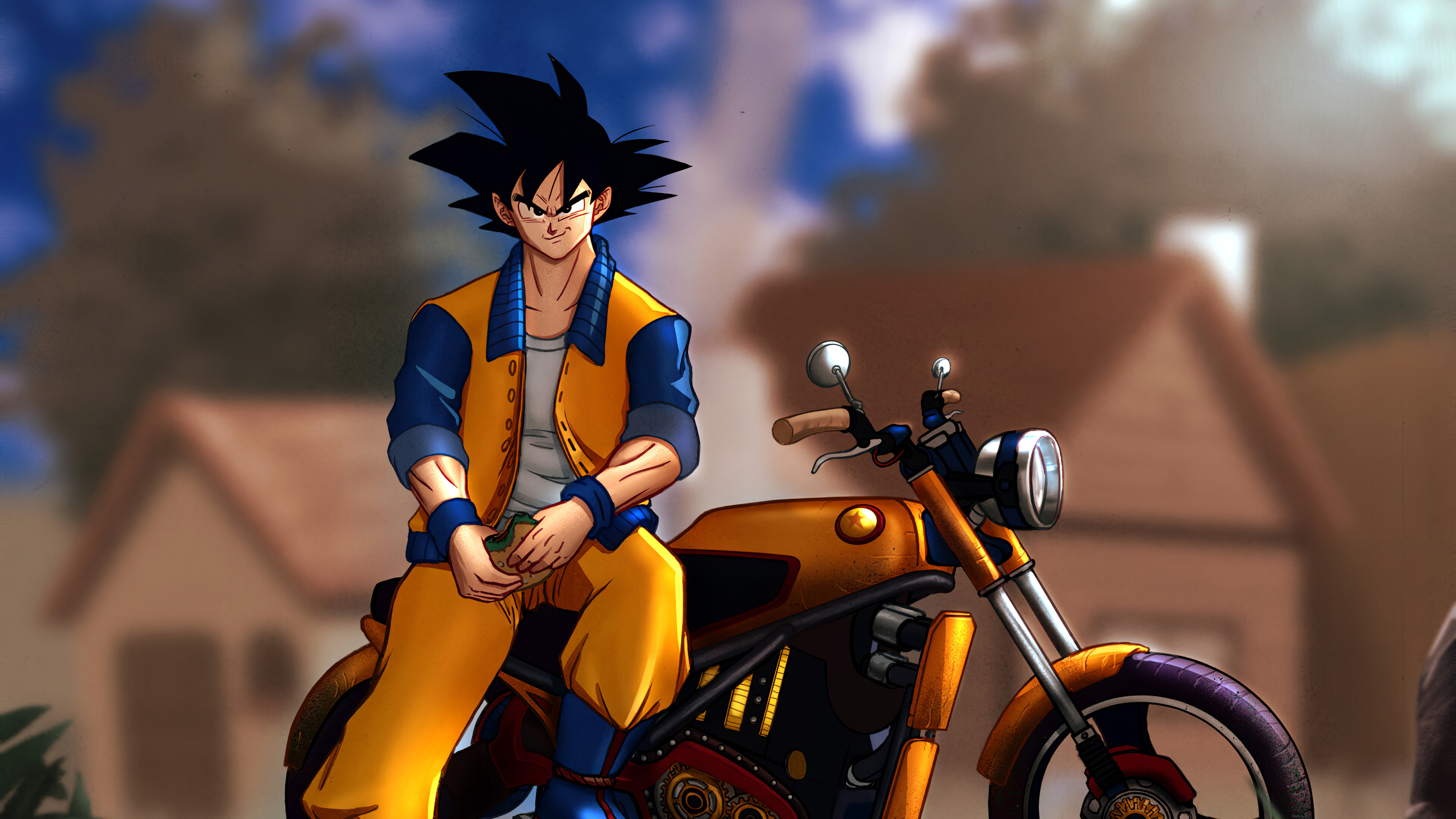 3840x2160 Goku Motorcycle 4k Wallpaper Hd Anime 4k Wallpapers Images Photos And Background