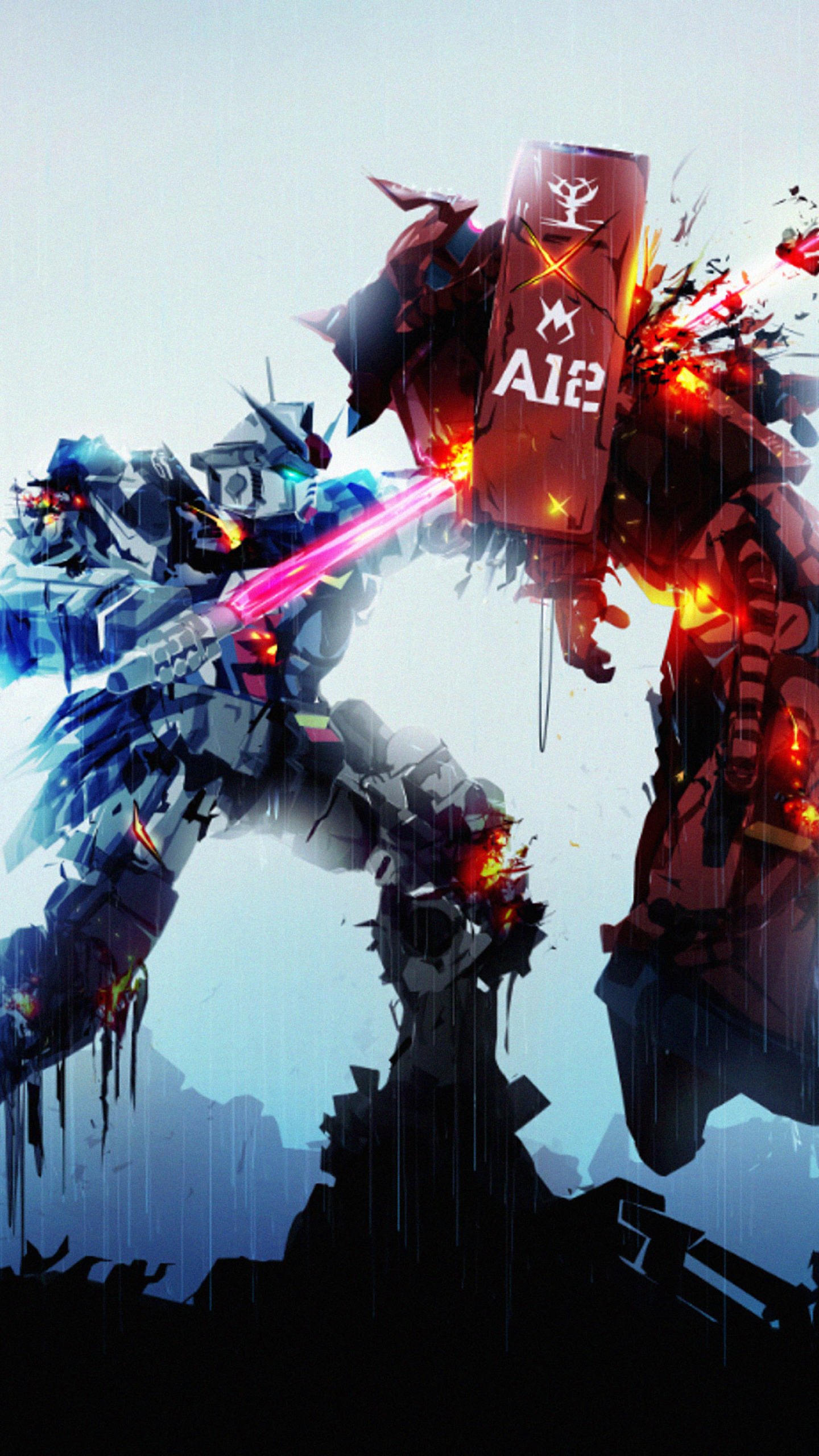 1440x2560 Gundam Robots Fight Samsung Galaxy S6,S7,Google Pixel XL