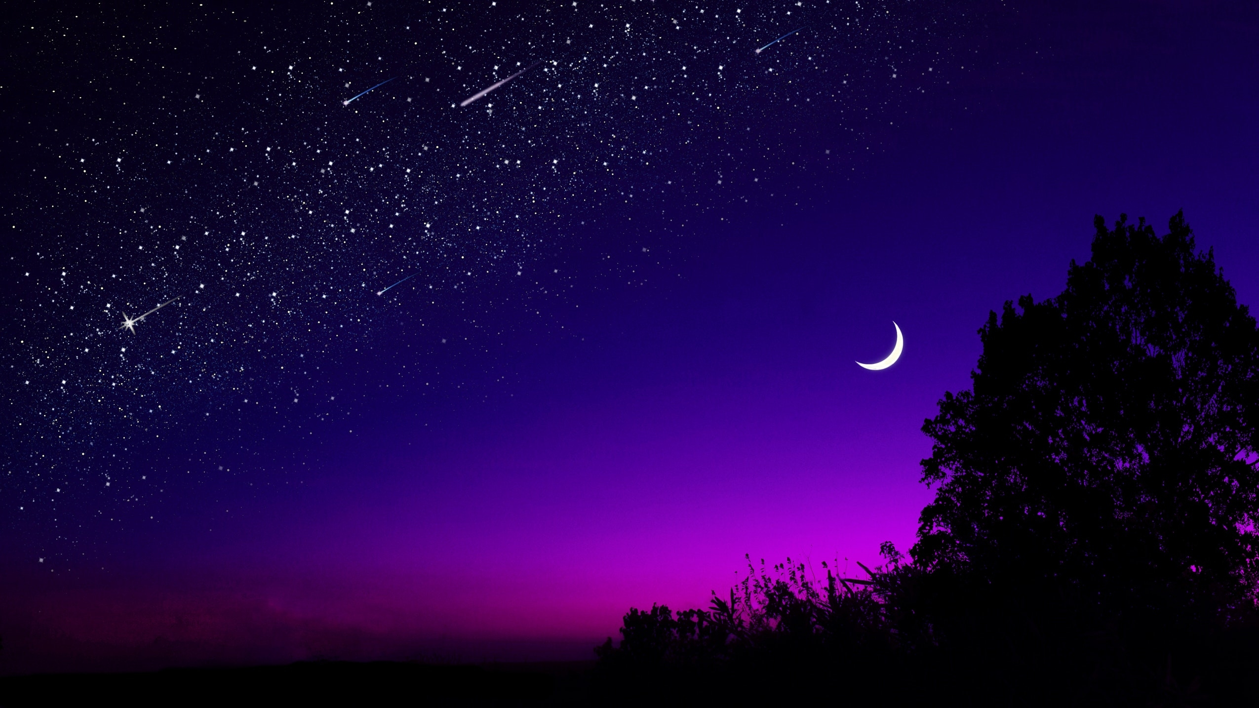 Half Moon Starry Night Wallpaper Hd Nature 4k Wallpapers Images Photos And Background