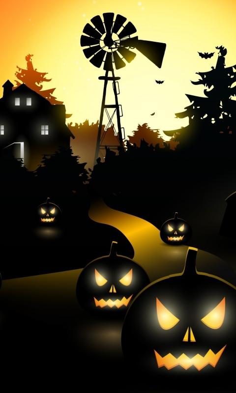 Download Halloween Haunted House 480x800 Resolution Full HD 2K