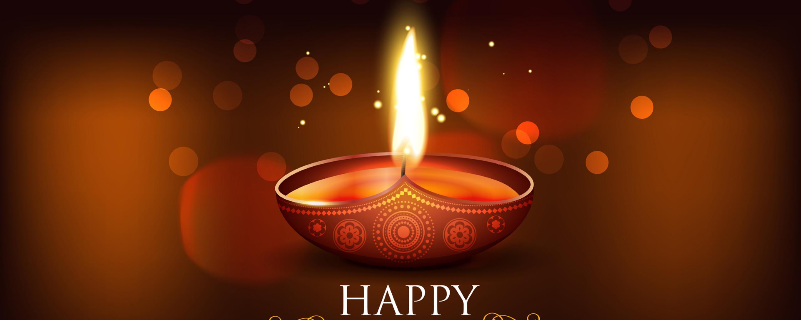 Happy Diwali 2020 Wallpaper in 2560x1024 Resolution