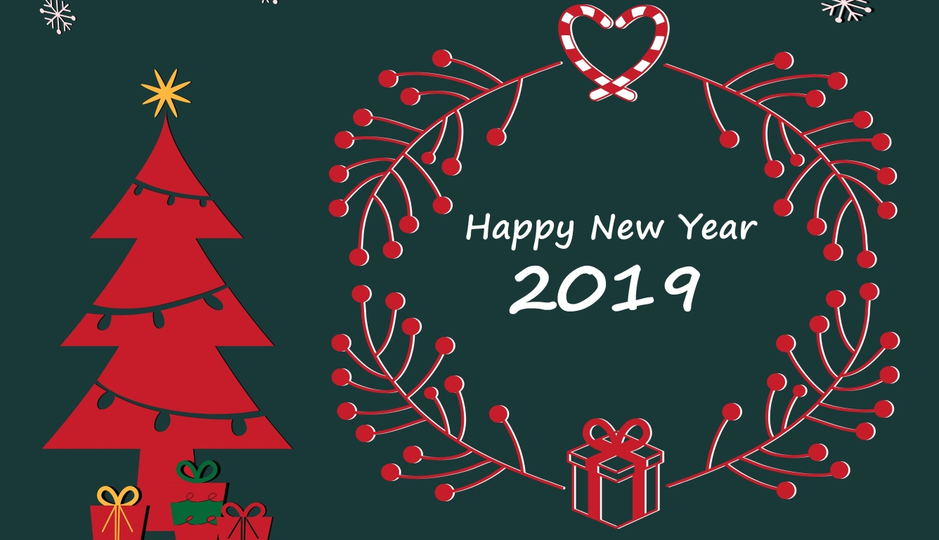 1336x768 Happy New Year and Merry Christmas 2019 HD Laptop