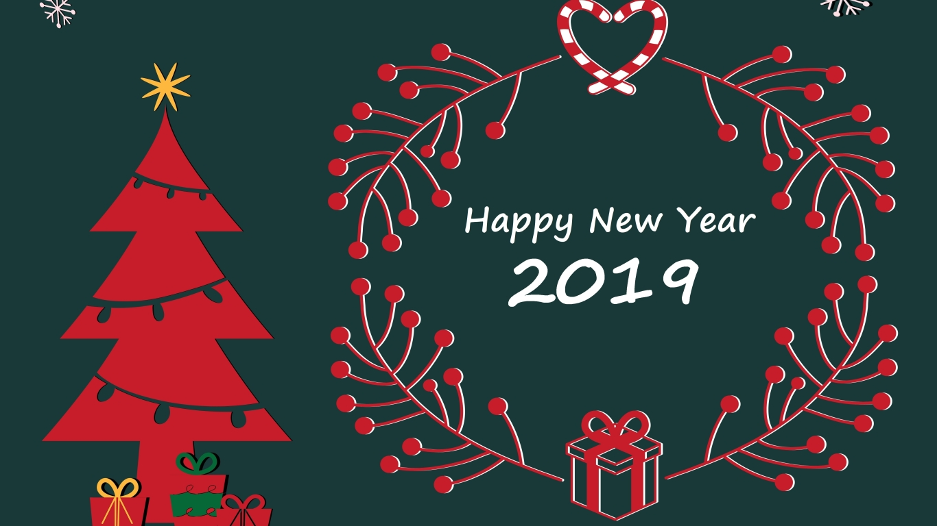 1366x768 Happy New Year And Merry Christmas 2019 1366x768