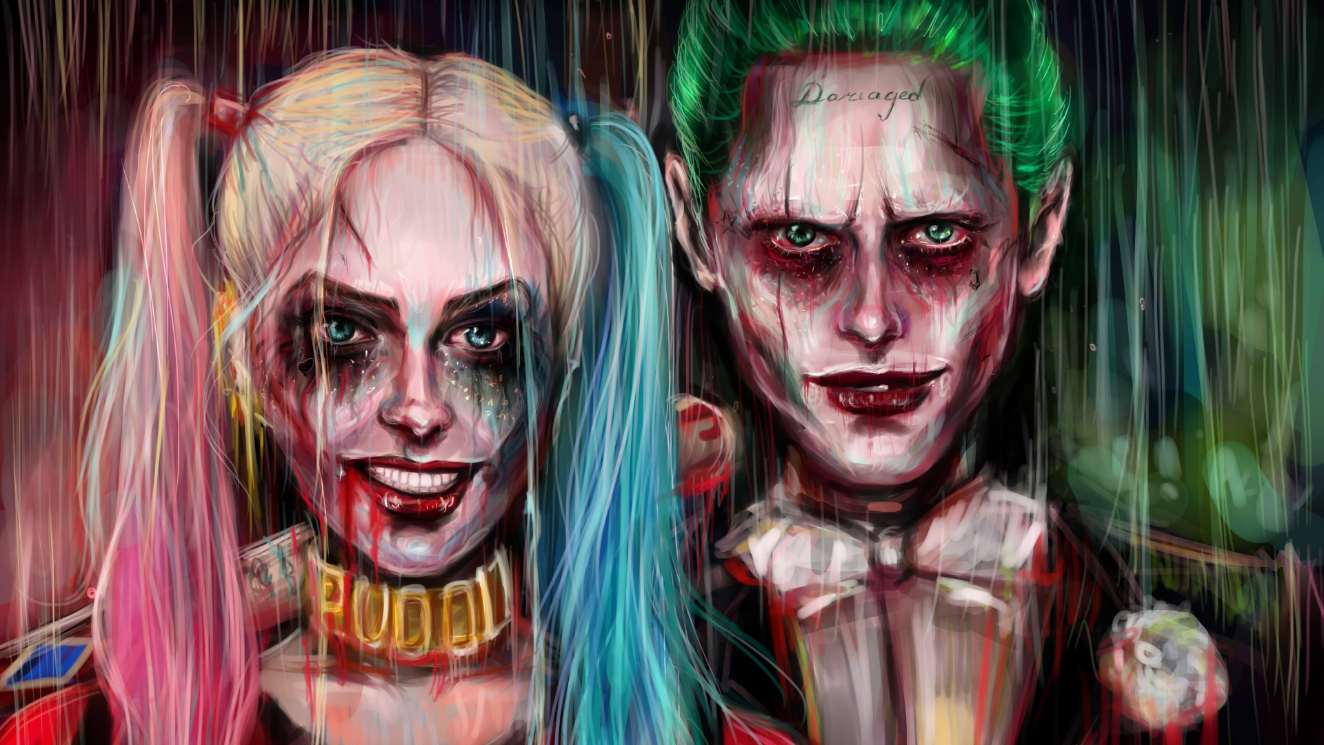 Harley quinn joker painting artwork hd 4k wallpaper for Joker immagini hd
