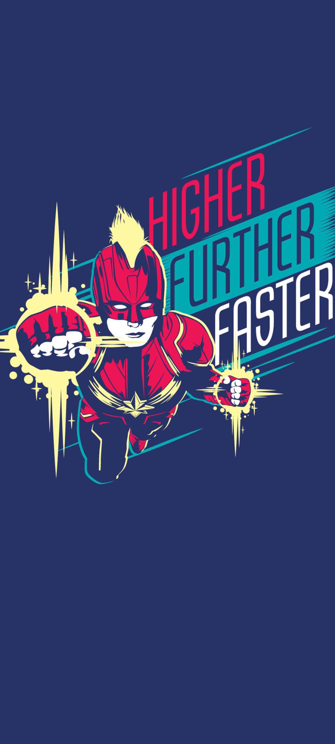 1080x2400 Higher Further Faster Minimal Captain Marvel ...