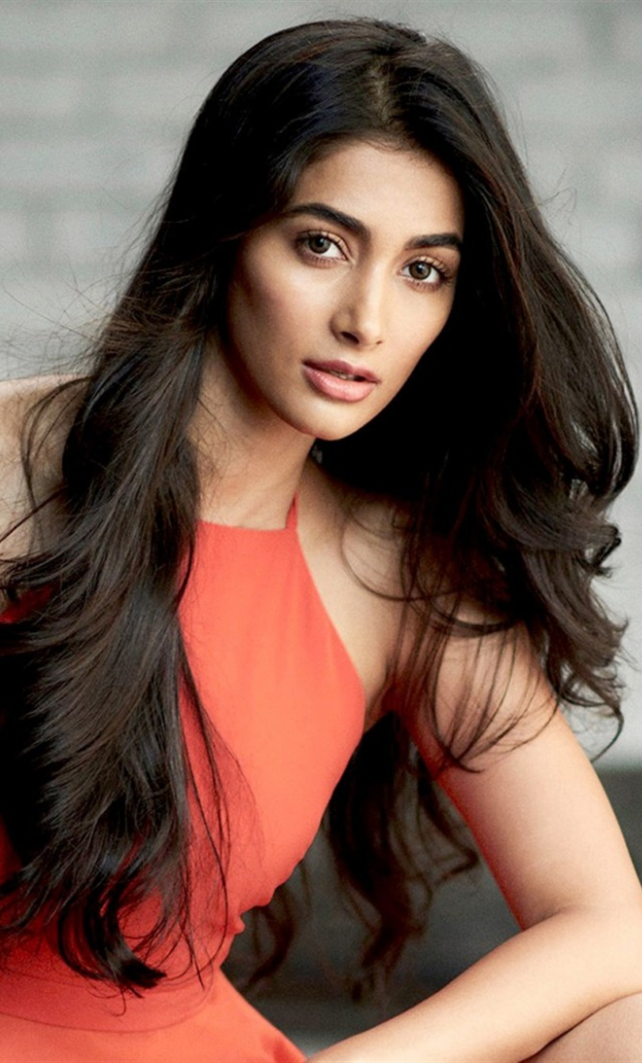 download hot pooja hegde in red 540x960 resolution, full hd wallpaper