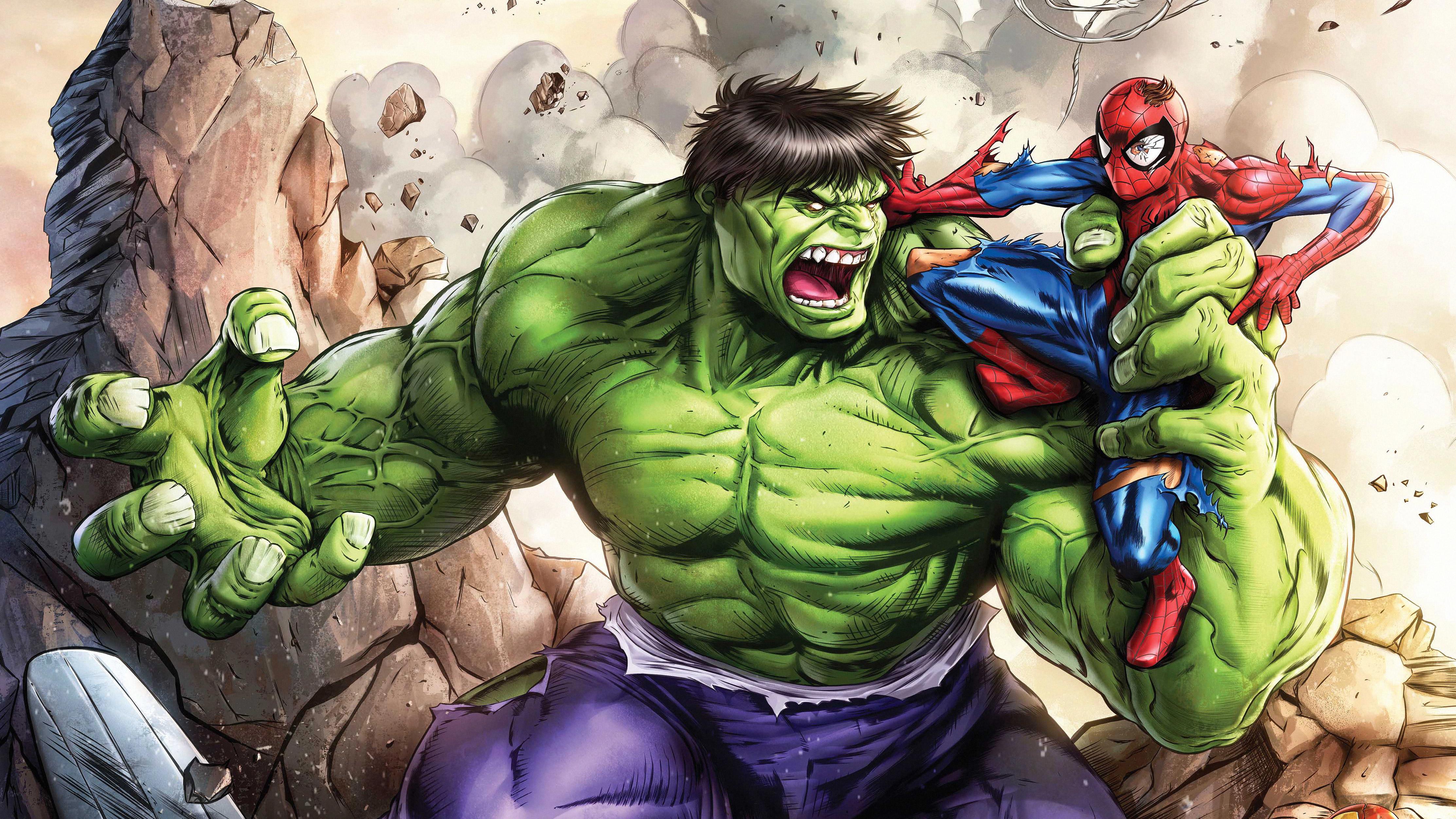 Hulk Vs Spiderman Art Wallpaper Hd Superheroes 4k