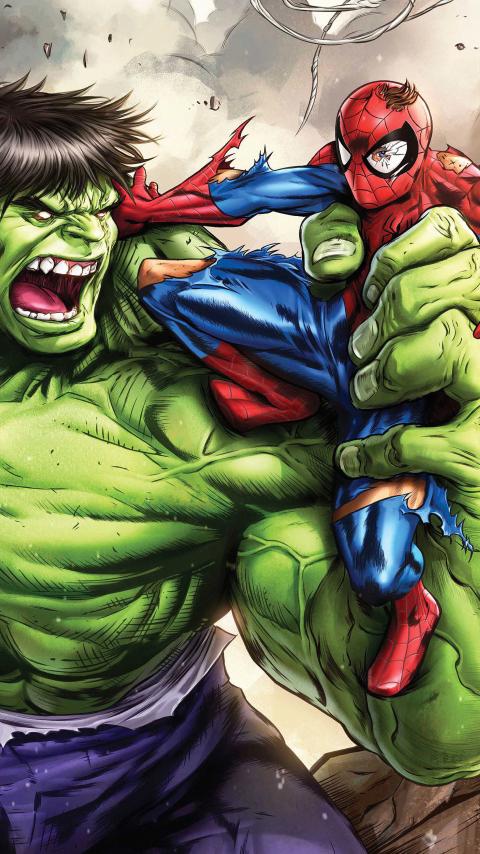 480x854 Hulk Vs Spiderman Art Android One Mobile Wallpaper ...