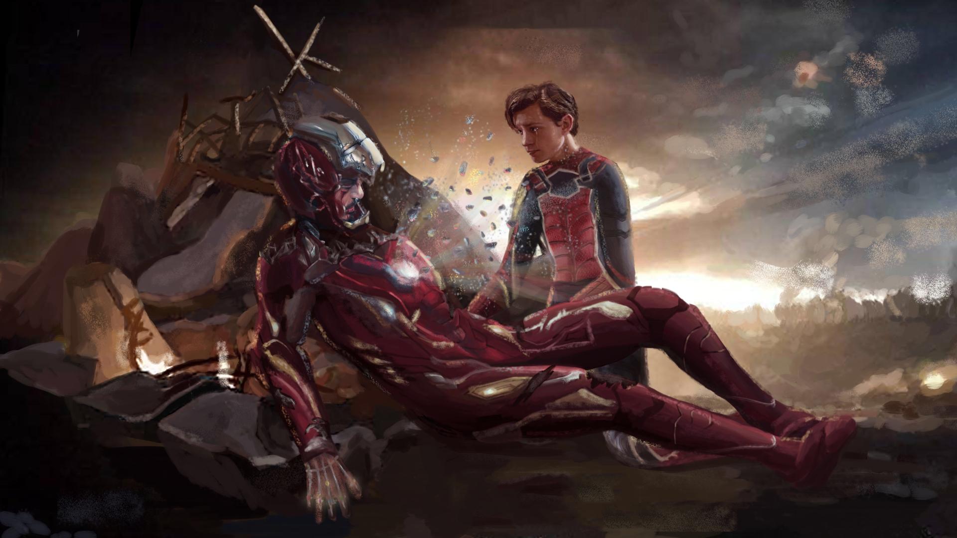1920x1080 Iron Man And Spiderman Last Scene Art 1080p Laptop Full