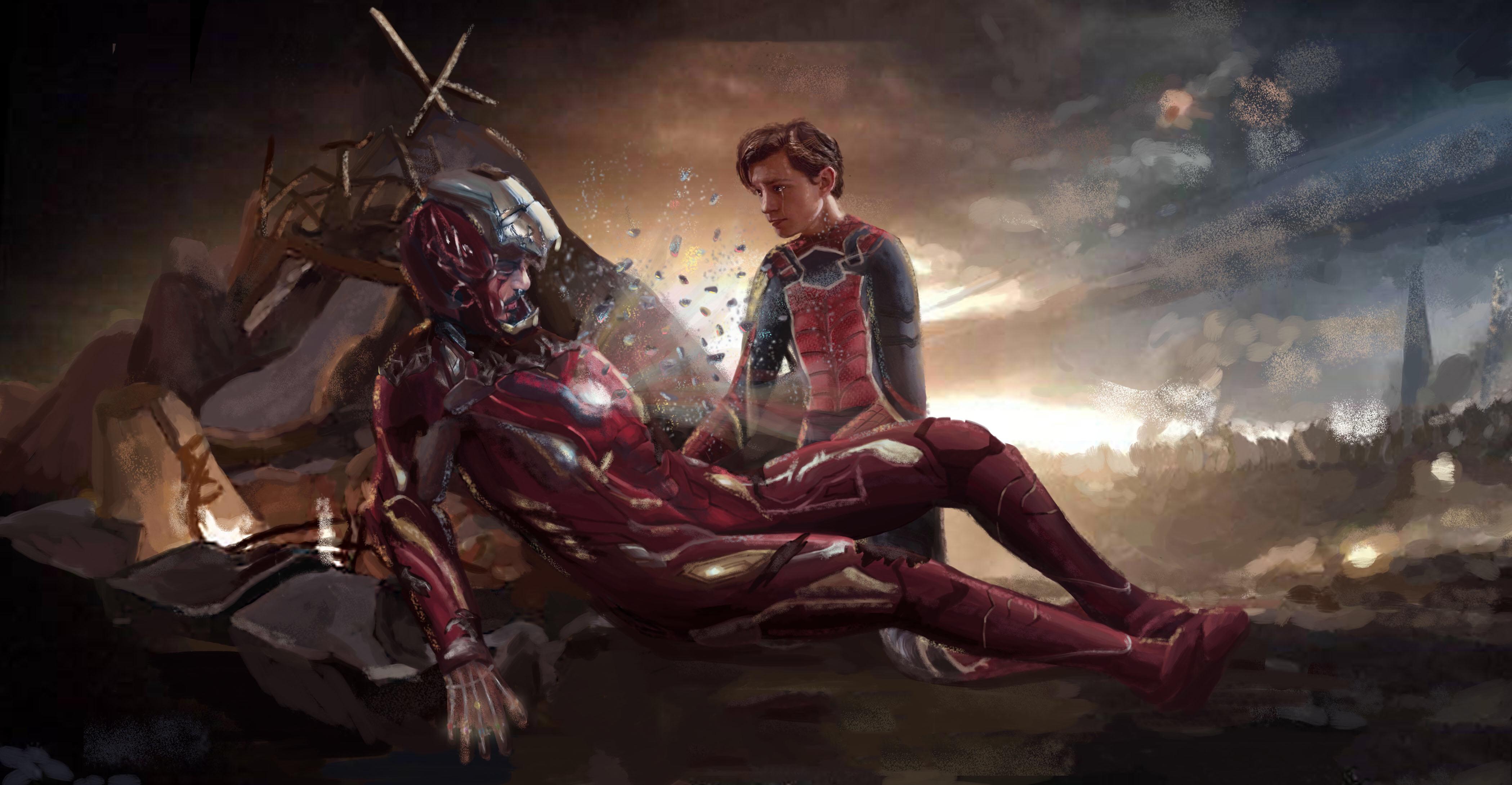 Iron Man And Spiderman Last Scene Art Wallpaper Hd Artist