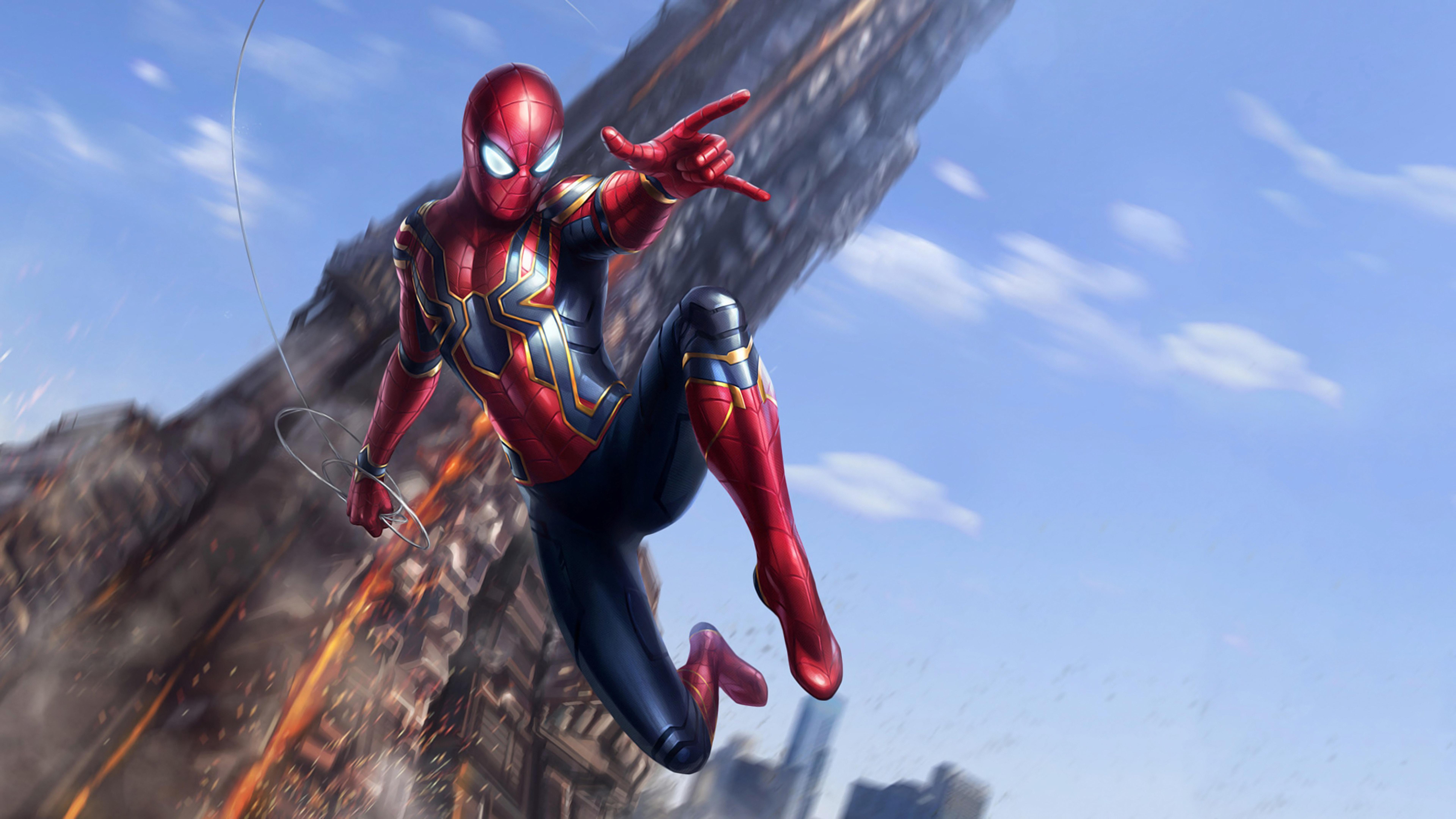 Iron spider avengers infinity war full hd 2k wallpaper - Spider man infinity war wallpaper ...
