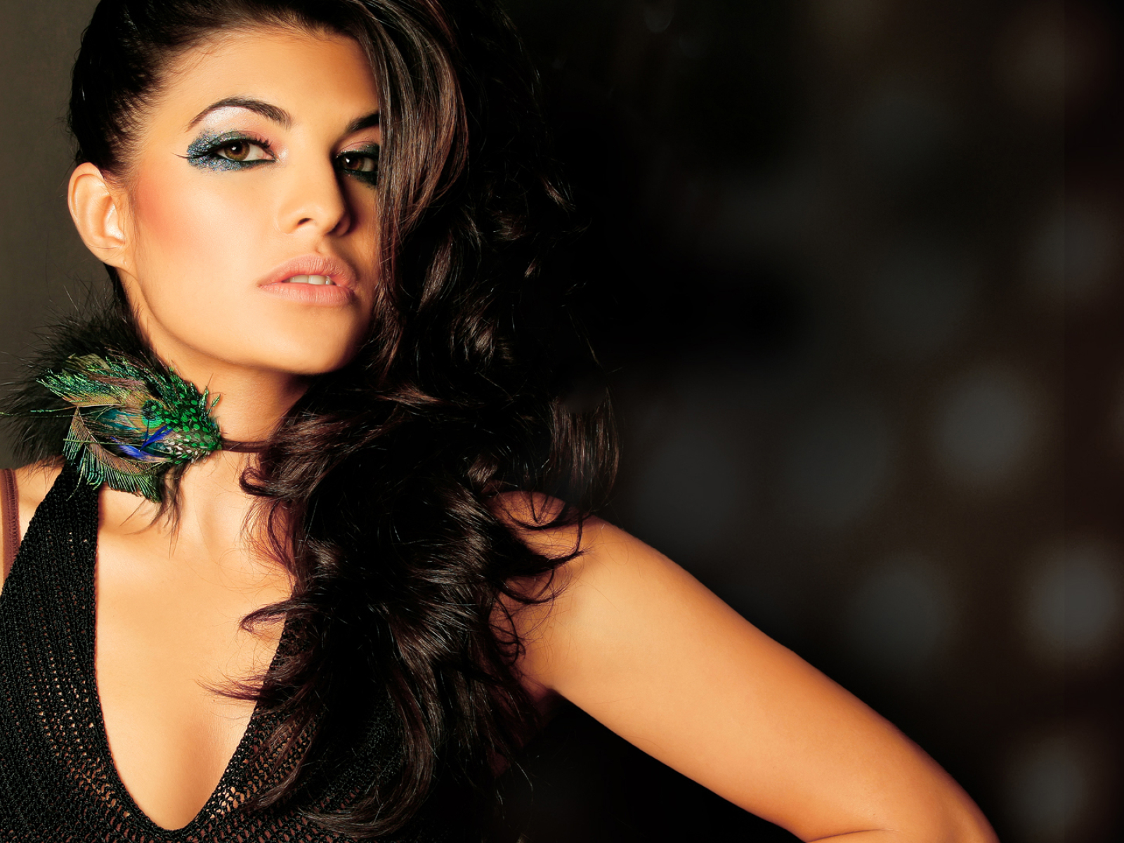 Free Download Full Hd Wallpaper Jacqueline Fernandez: Jacqueline Fernandez In Sexy Black Stills, Full HD Wallpaper