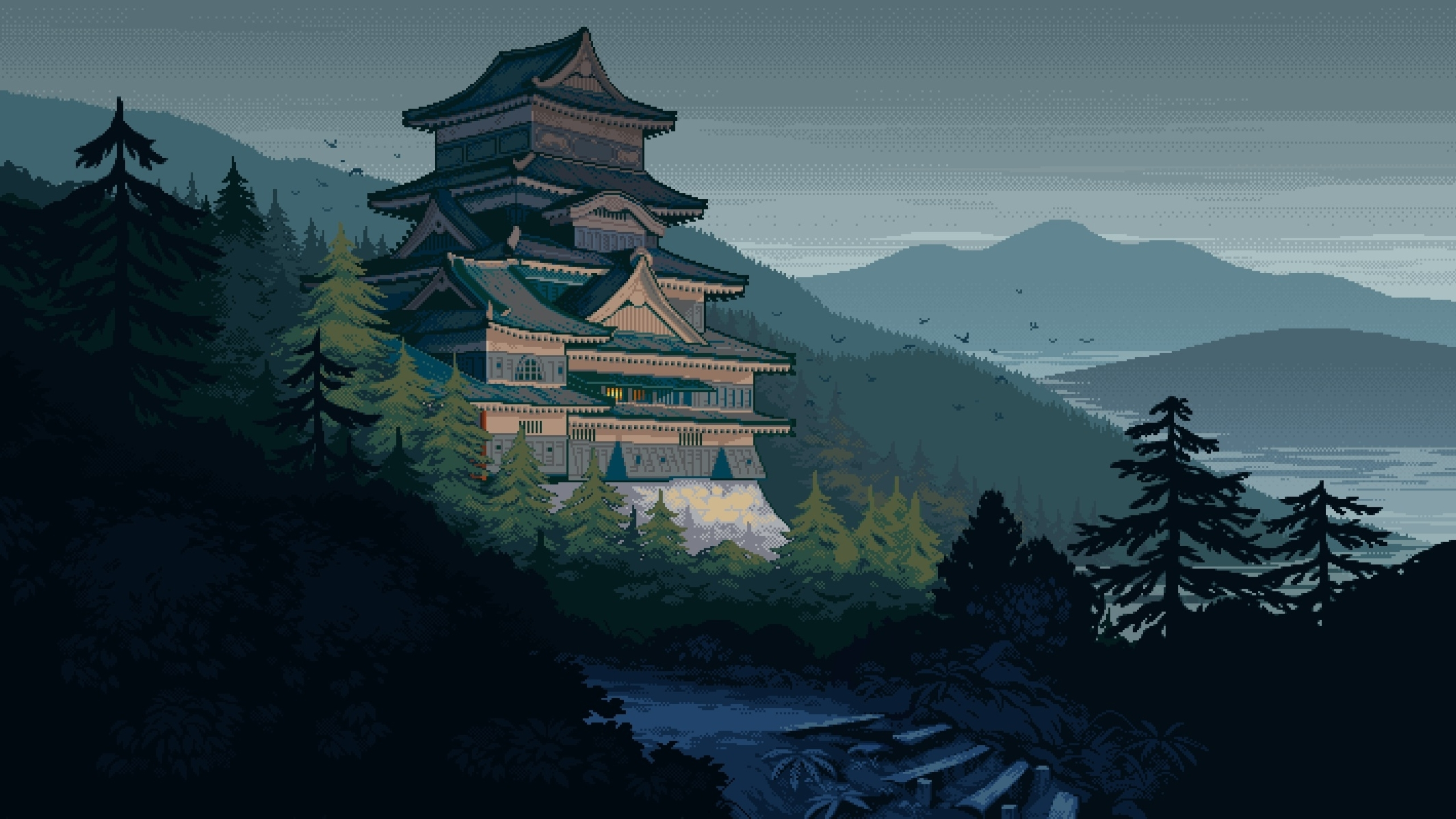 2560x1440 Japanese Castle Pixel Art 1440p Resolution Wallpaper Hd Artist 4k Wallpapers Images Photos And Background