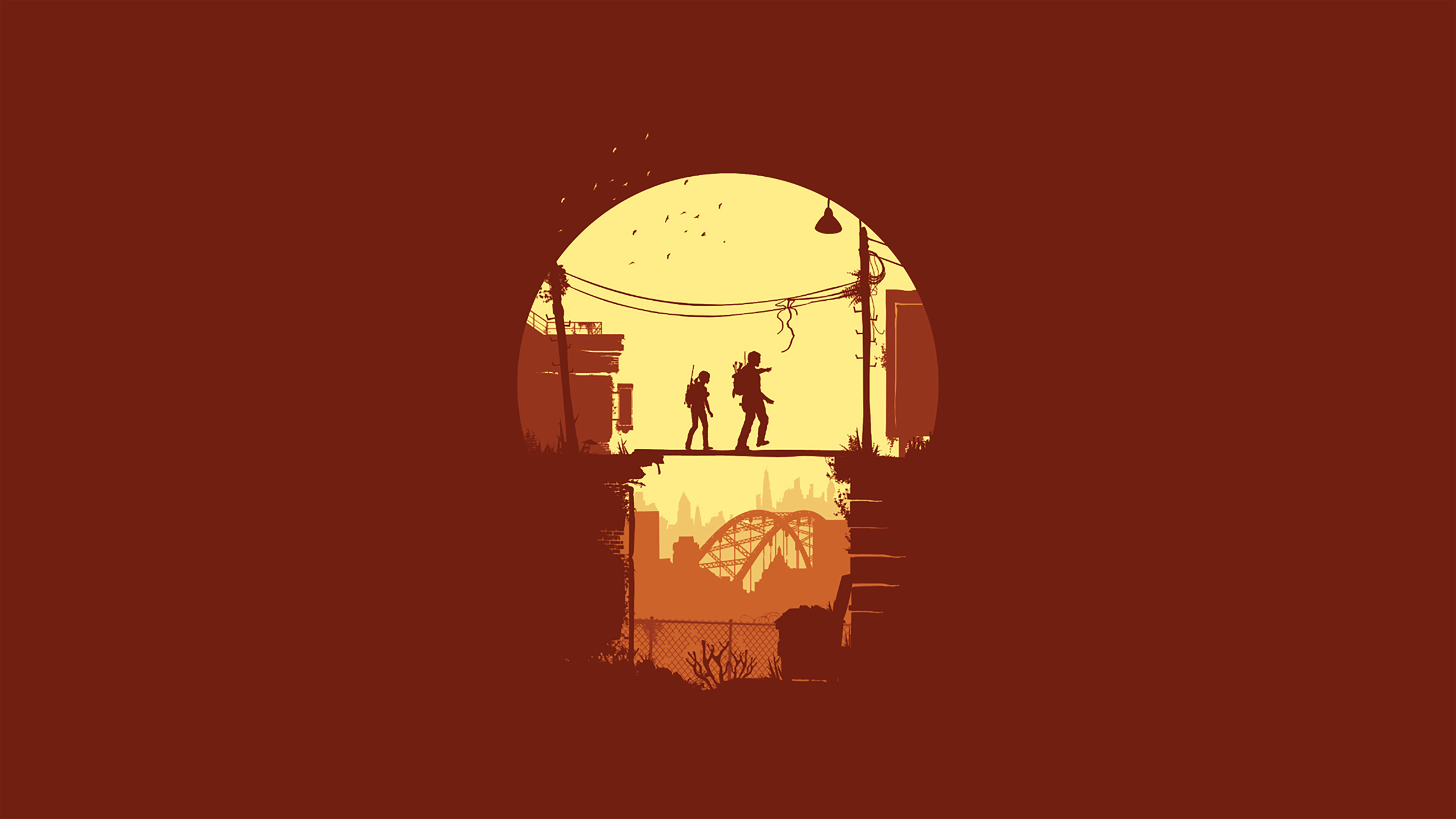 Joel And Ellie The Last Of Us Minimal Wallpaper Hd Minimalist 4k
