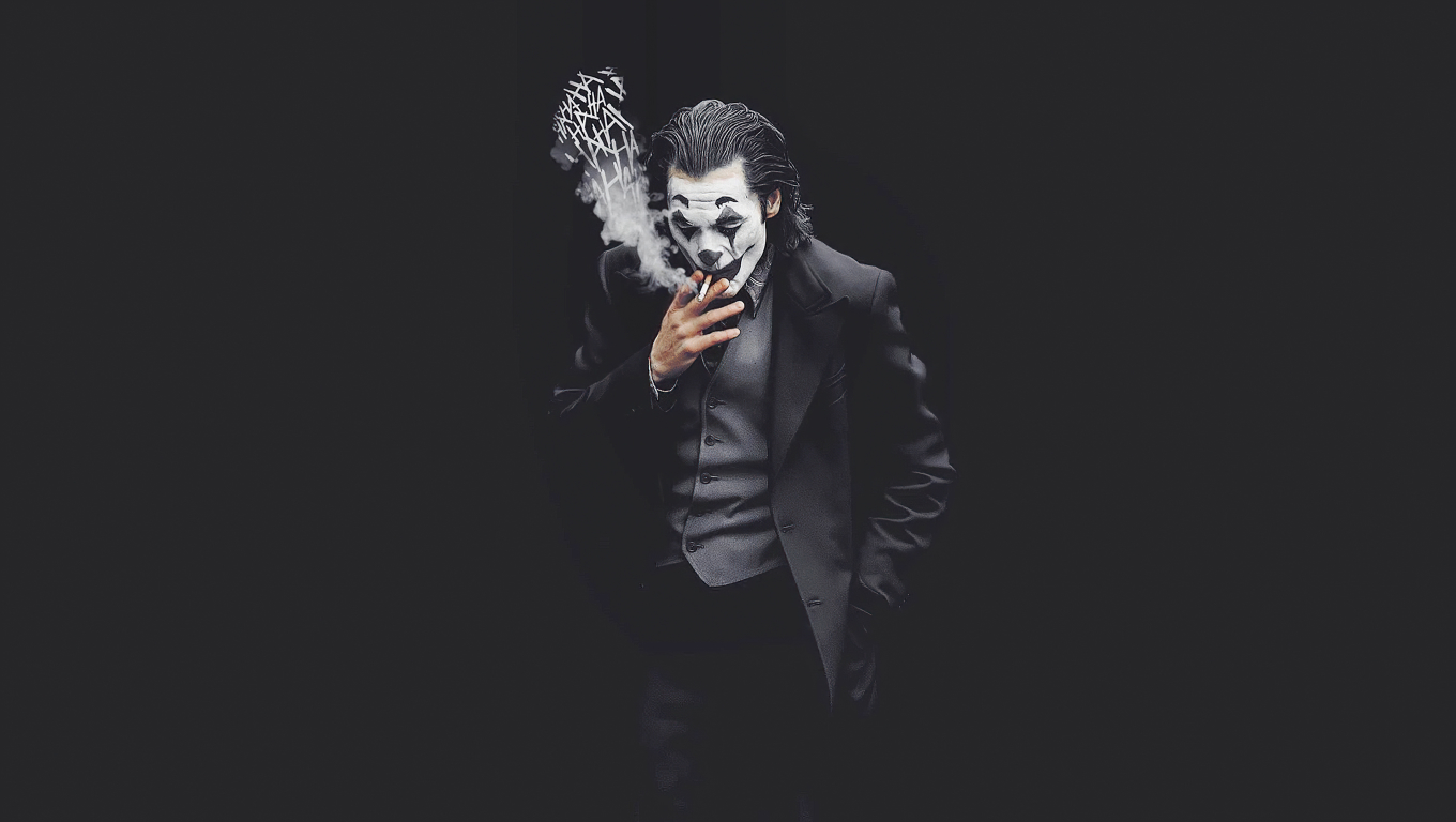 1360x768 Joker Smoking Monochrome Desktop Laptop HD ...