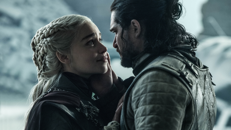 1360x768 Jon Snow Daenerys Targaryen Last Scene Desktop