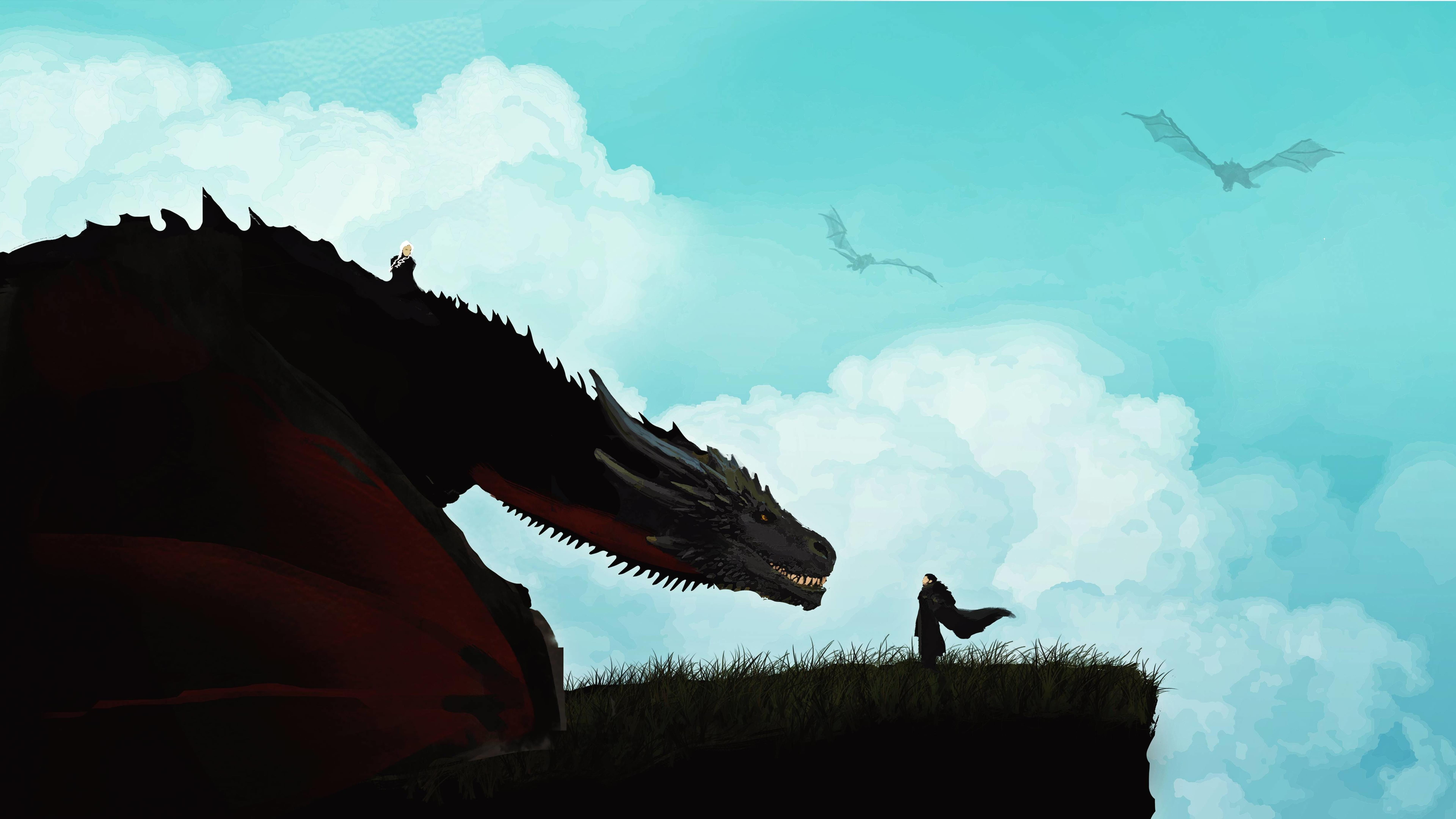 4k Game Of Thrones Wallpaper: Jon Snow Meets The Dragon Minimal, HD 4K Wallpaper