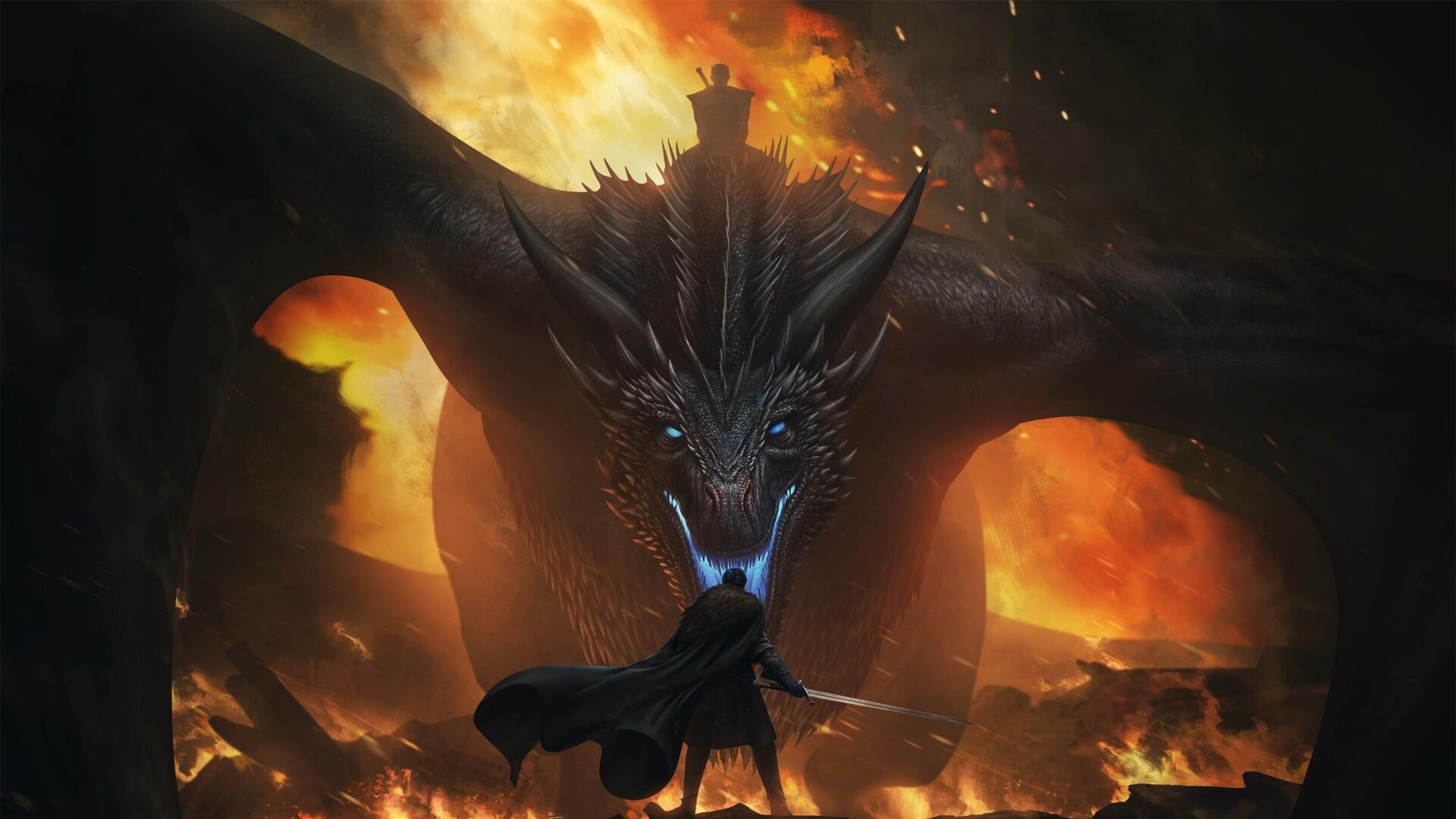 3840x2160 Jon Snow Vs Night King Dragon 4K Wallpaper, HD ...