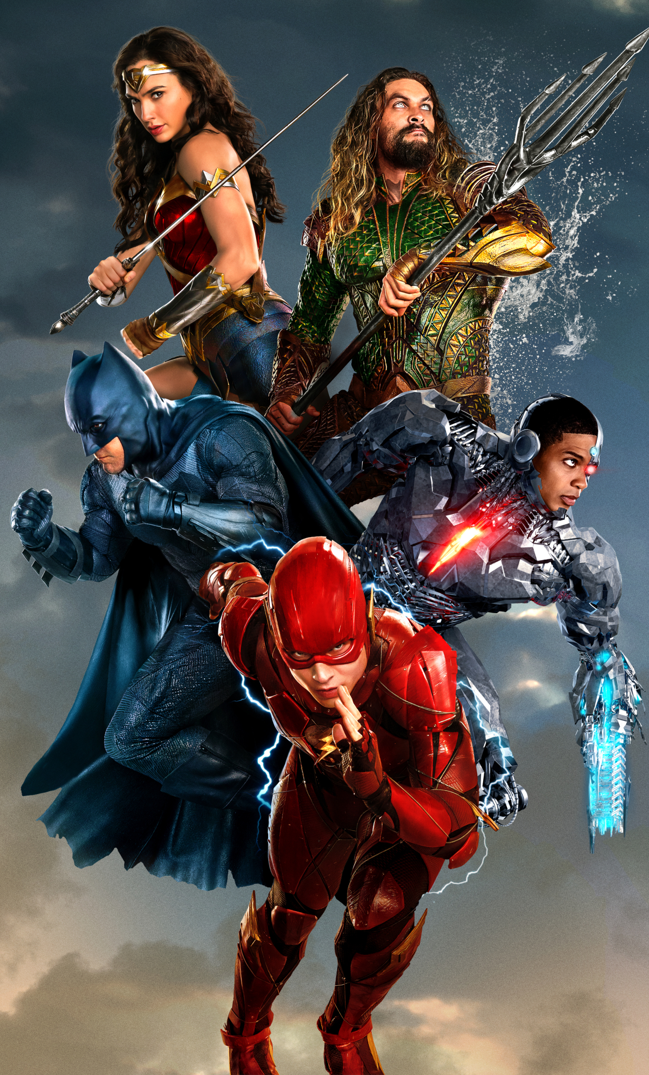 Download Justice League Team Poster 1280x2120 Resolution HD 8K