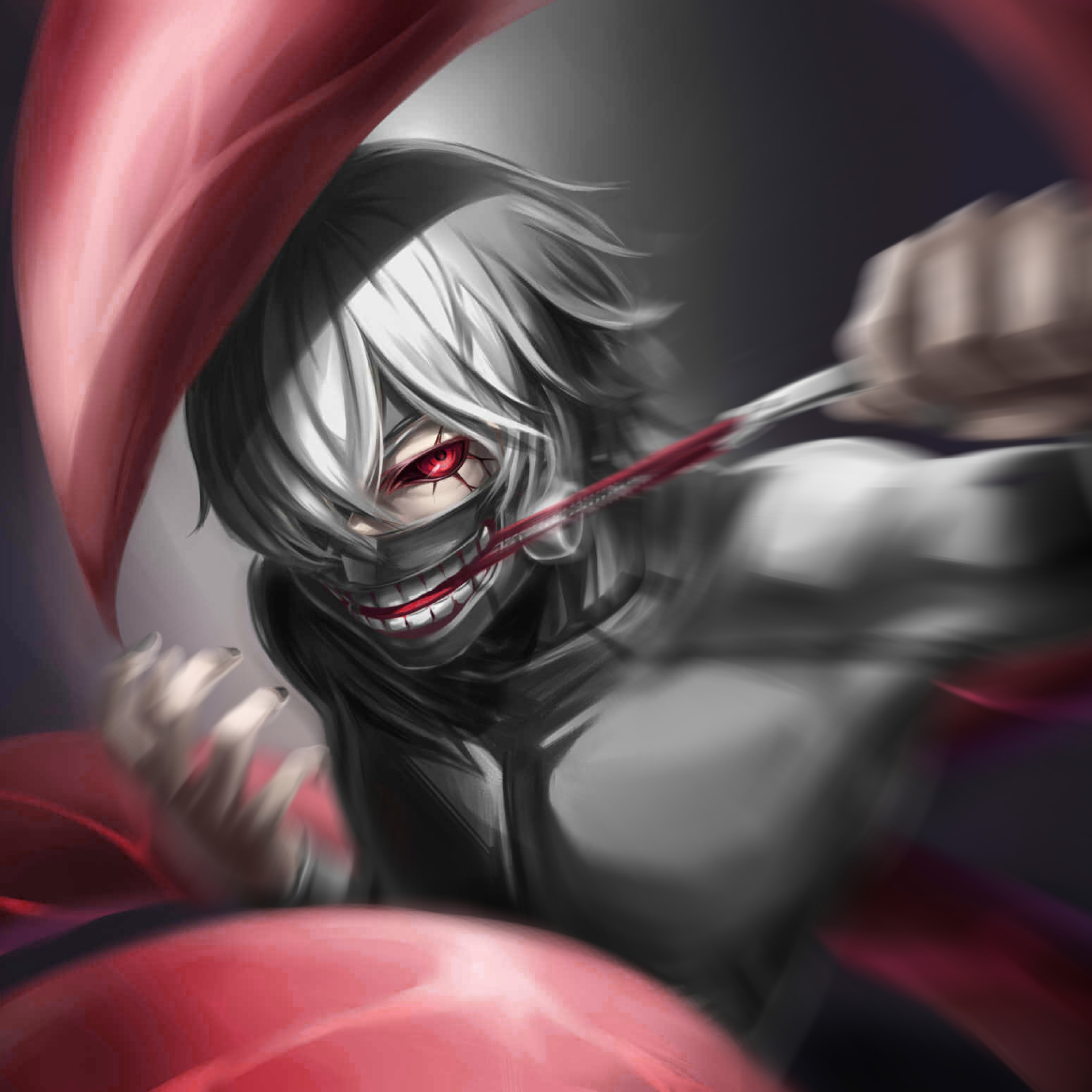 Kaneki Ken, Tokyo Ghoul, Art, Full HD 2K Wallpaper