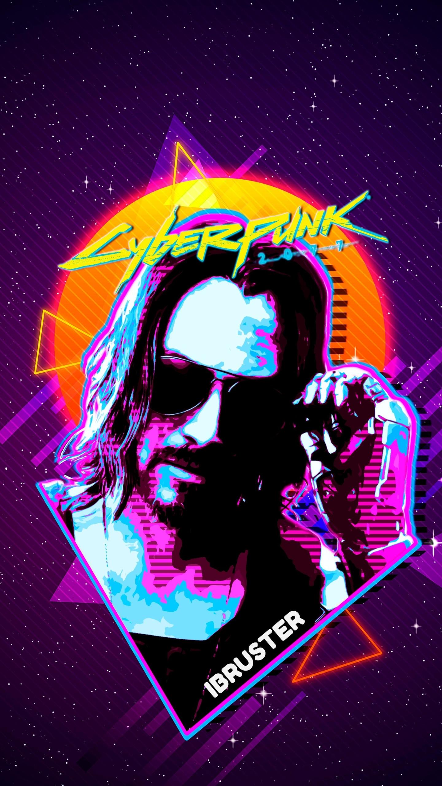 1440x2560 Keanu Reeves Cyberpunk 2077 Retro Art Samsung ...