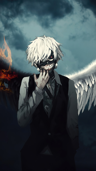 Ken Kaneki Fire Wings Wallpaper in 320x568 Resolution