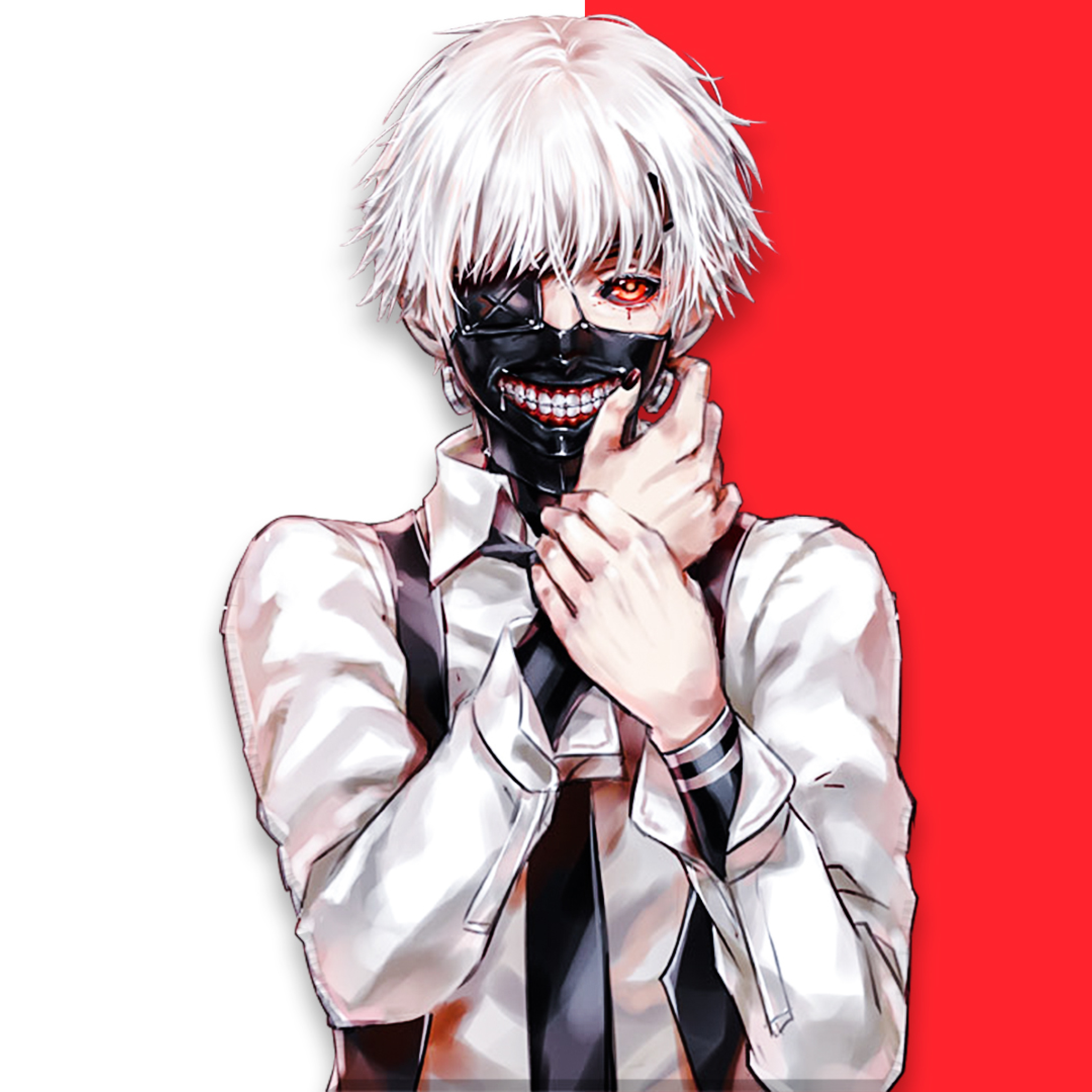 Ken Kaneki Tokyo Ghoul Art Wallpaper in 2048x2048 Resolution