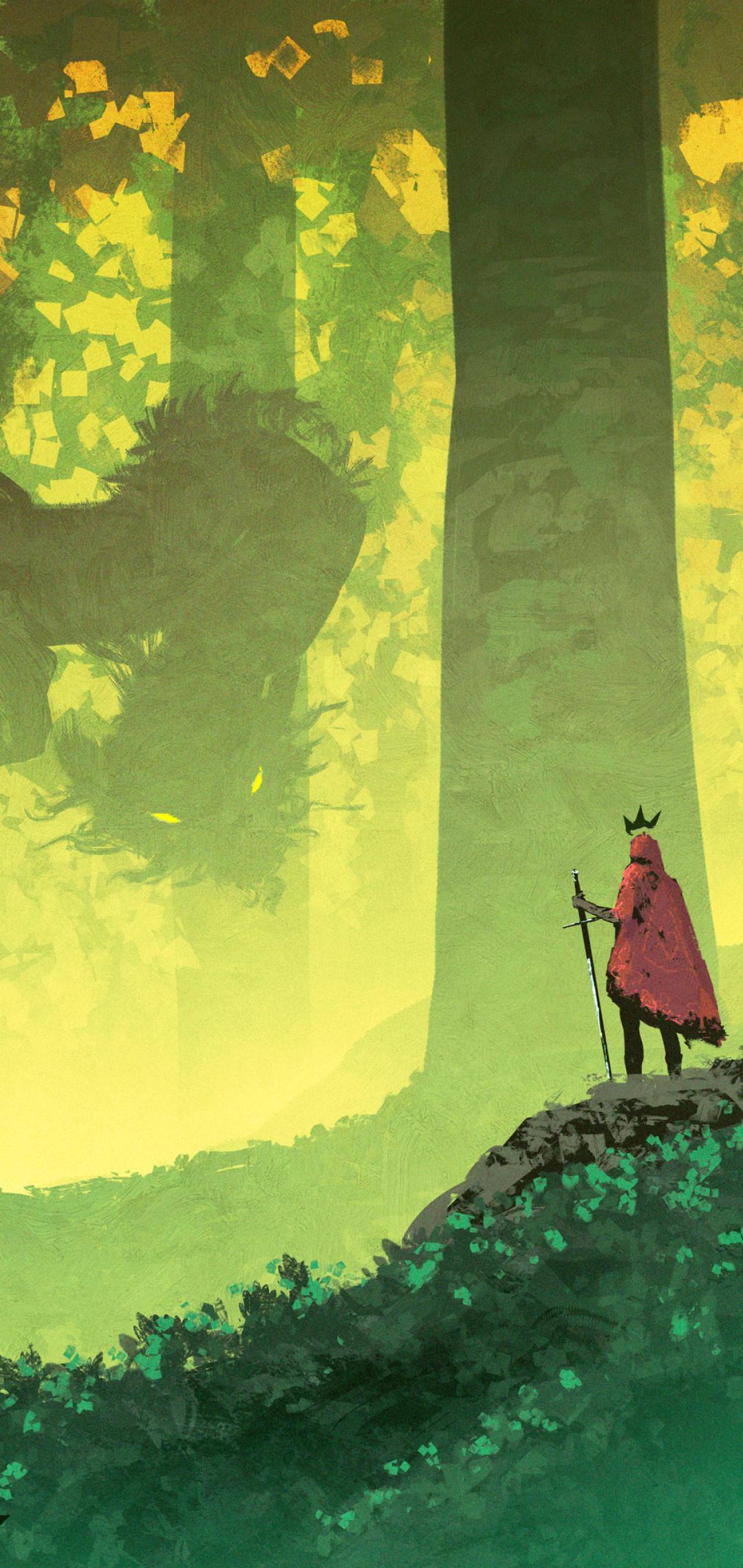 King vs Dragon Fantasy Art Wallpaper in 1080x2280 Resolution