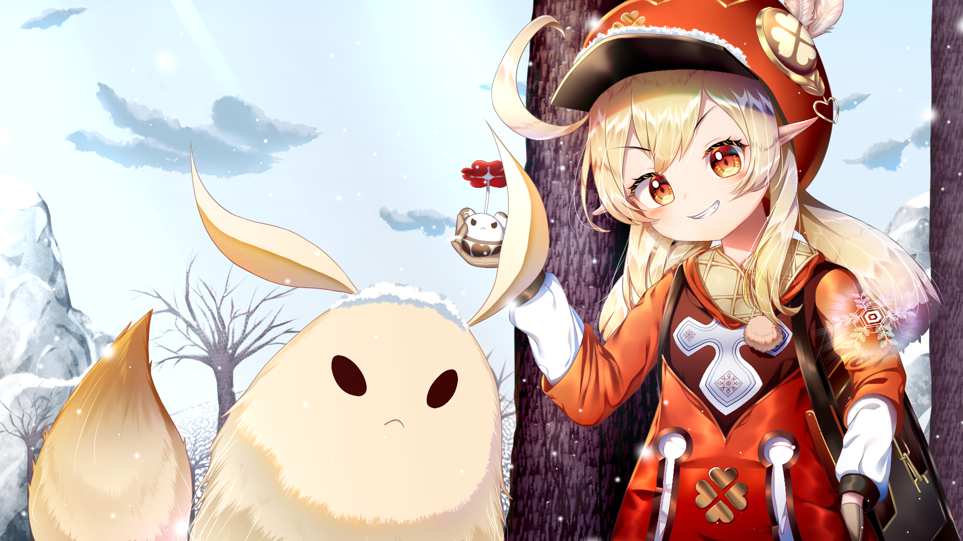 Klee Genshin Impact and her Pet Wallpaper in 1920x1080 Resolution