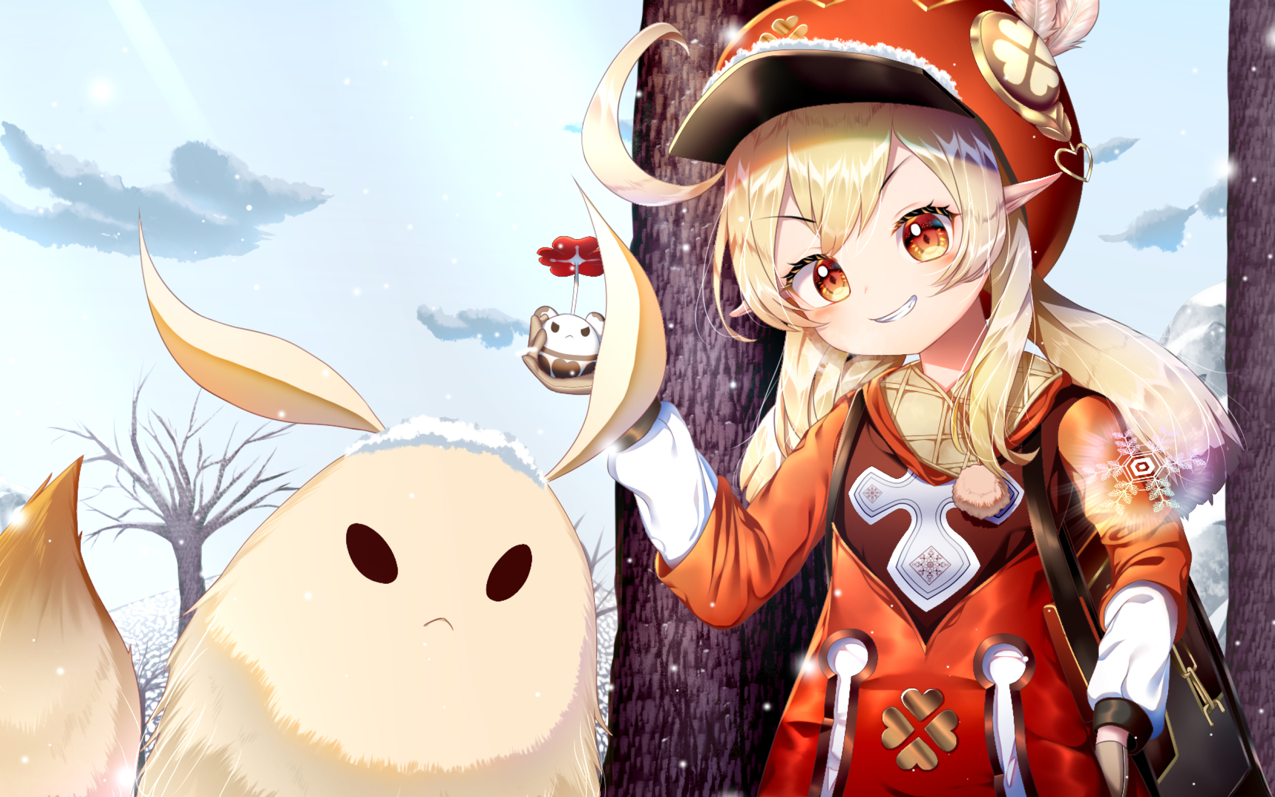 Klee Genshin Impact and her Pet Wallpaper in 2560x1600 Resolution