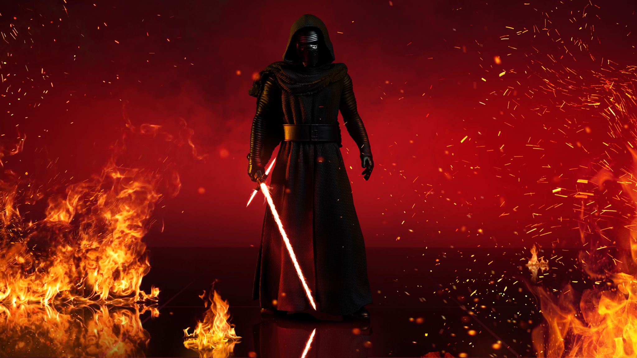 2048x1152 Kylo Ren With Lightsaber In Star Wars 2048x1152